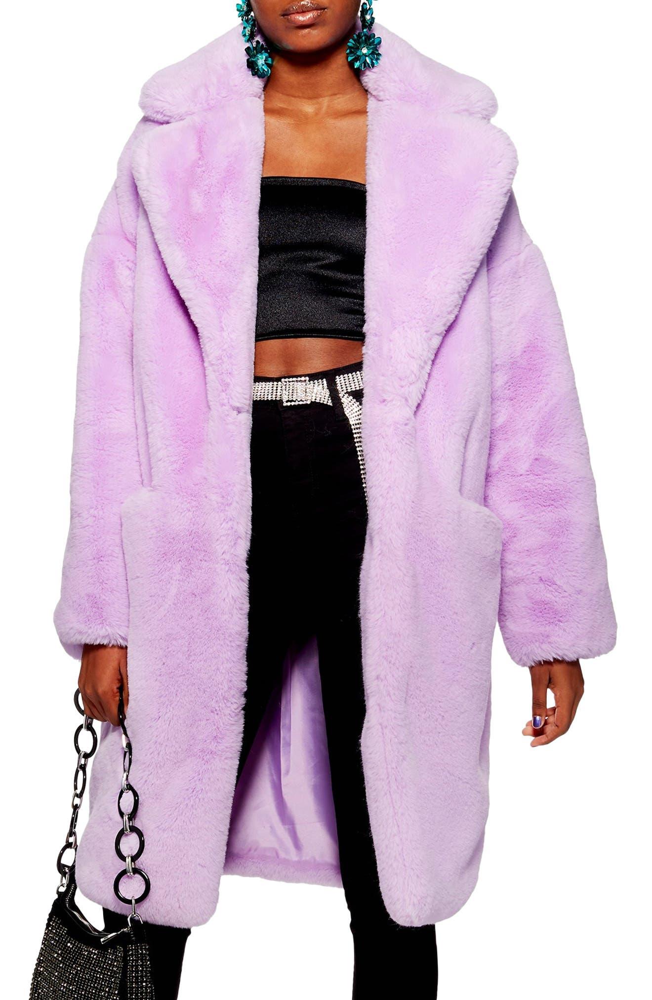 TOPSHOP, Anoushka Faux Fur Coat, Main thumbnail 1, color, 530