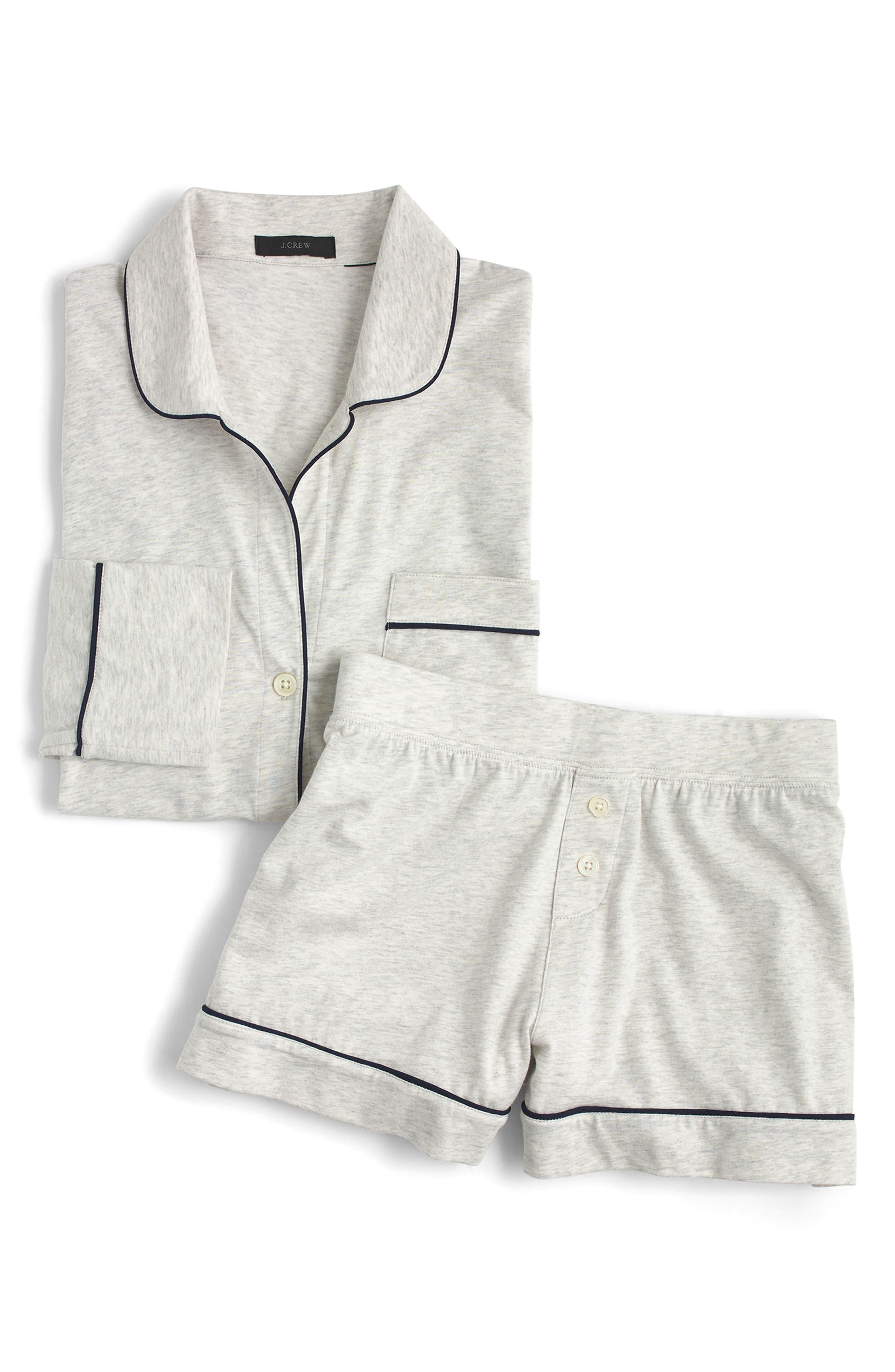 J.CREW, Dreamy Short Cotton Pajamas, Alternate thumbnail 2, color, HEATHER CLOUD