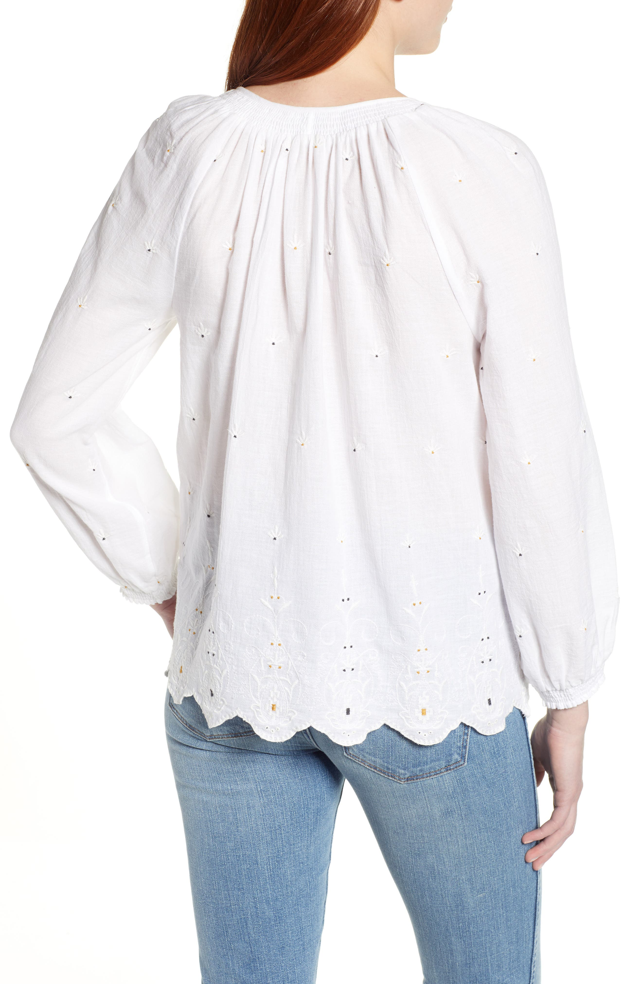 LUCKY BRAND, Eyelet Peasant Top, Alternate thumbnail 2, color, LUCKY WHITE