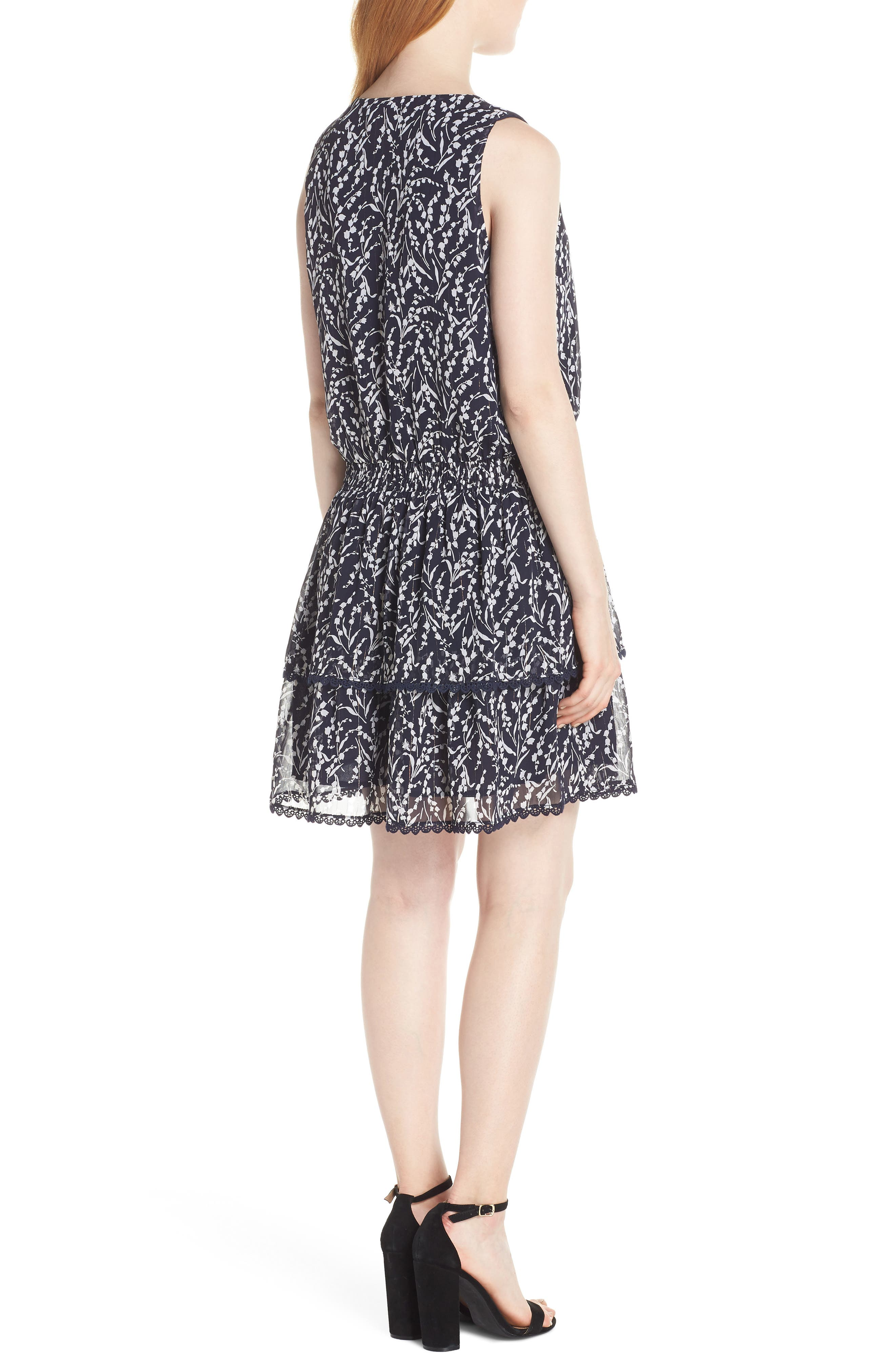 19 COOPER, Tiered Floral Sleeveless Dress, Alternate thumbnail 2, color, NAVY/ WHITE