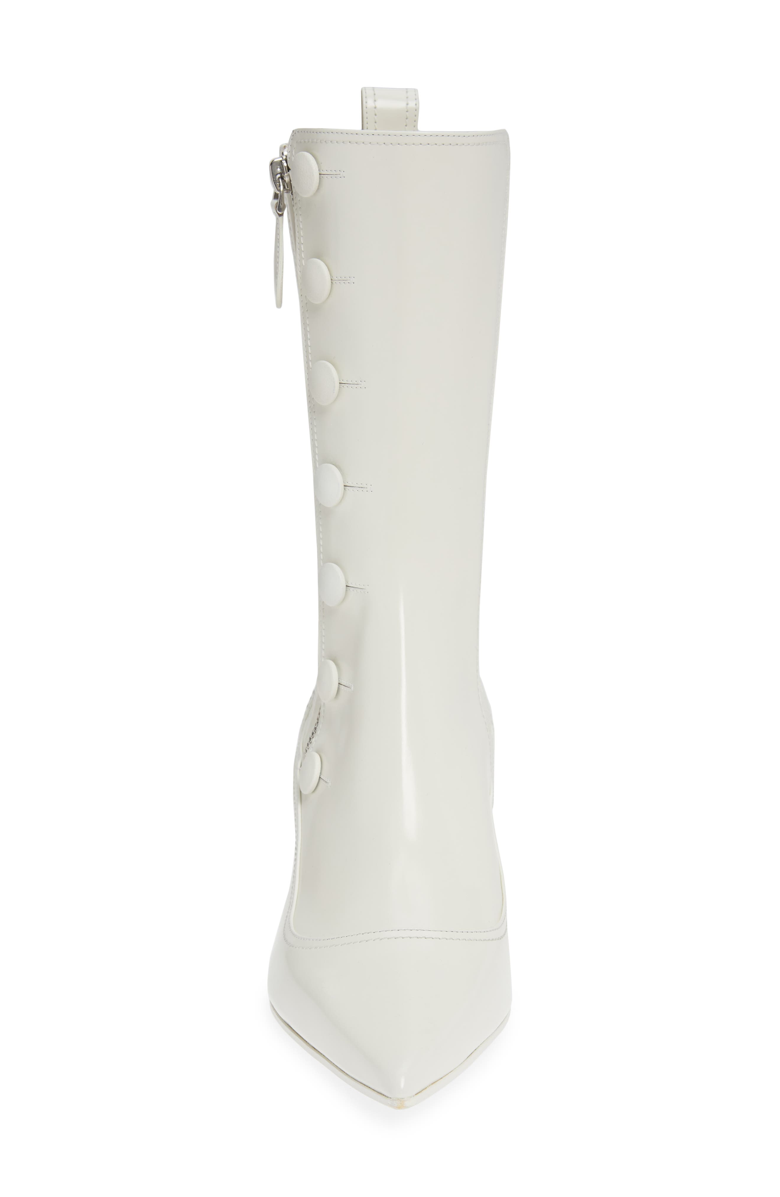ALEXANDER MCQUEEN, Button Pointy Toe Boot, Alternate thumbnail 4, color, IVORY/ BLACK