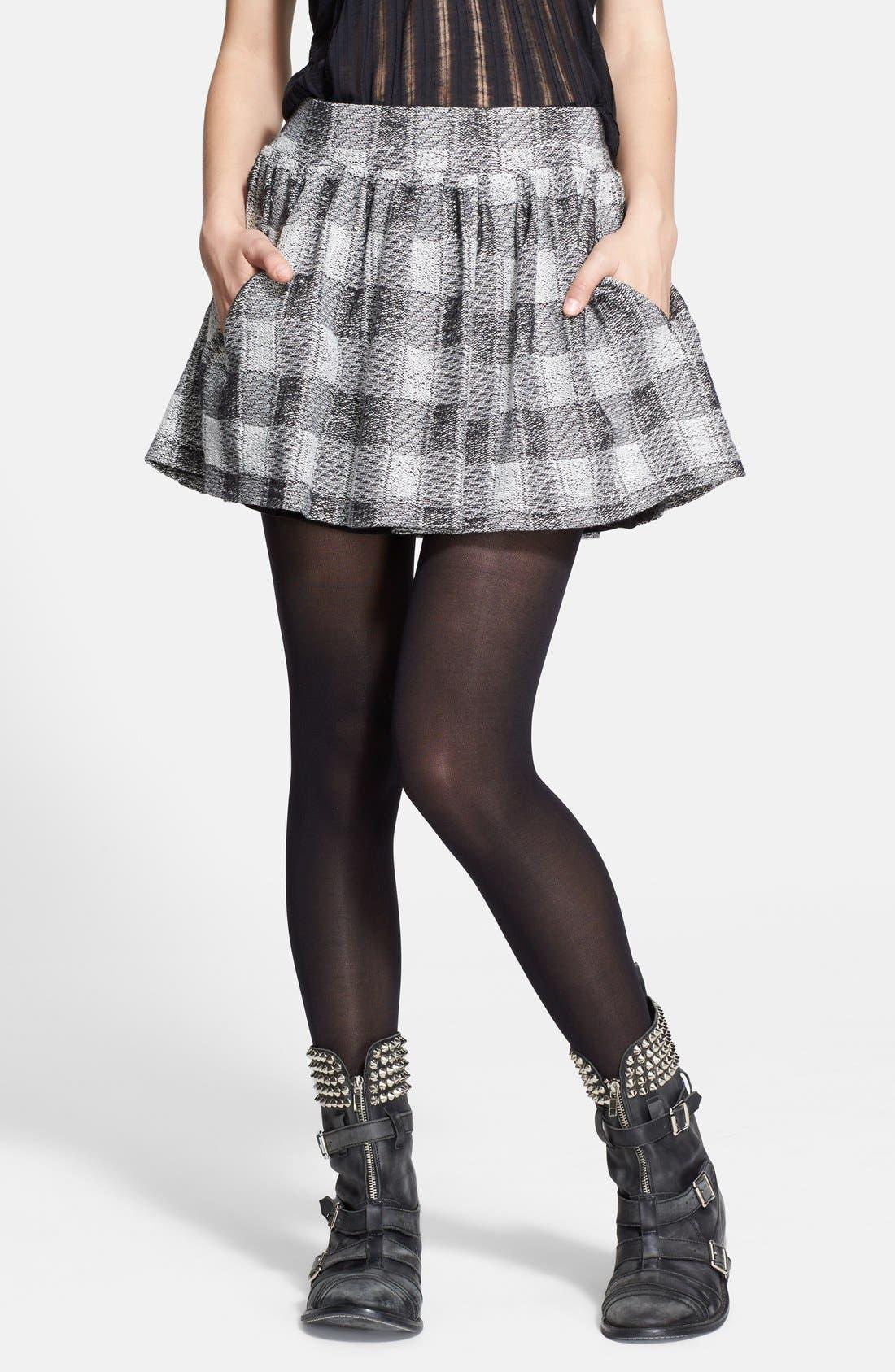 FREE PEOPLE Plaid Flared Miniskirt, Main, color, 001