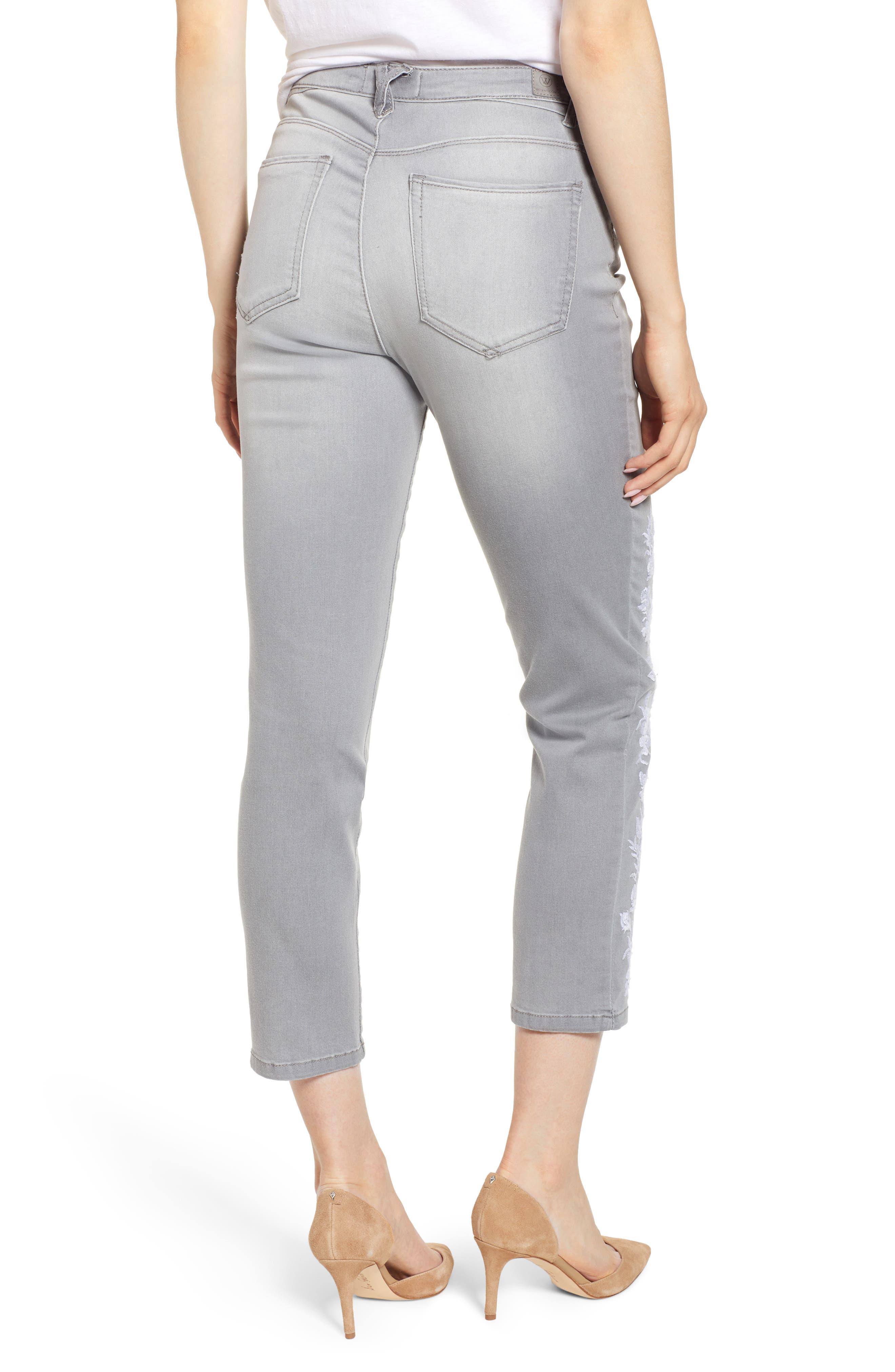 WIT & WISDOM, High Waist Slim Crop Straight Leg Jeans, Alternate thumbnail 2, color, GREY