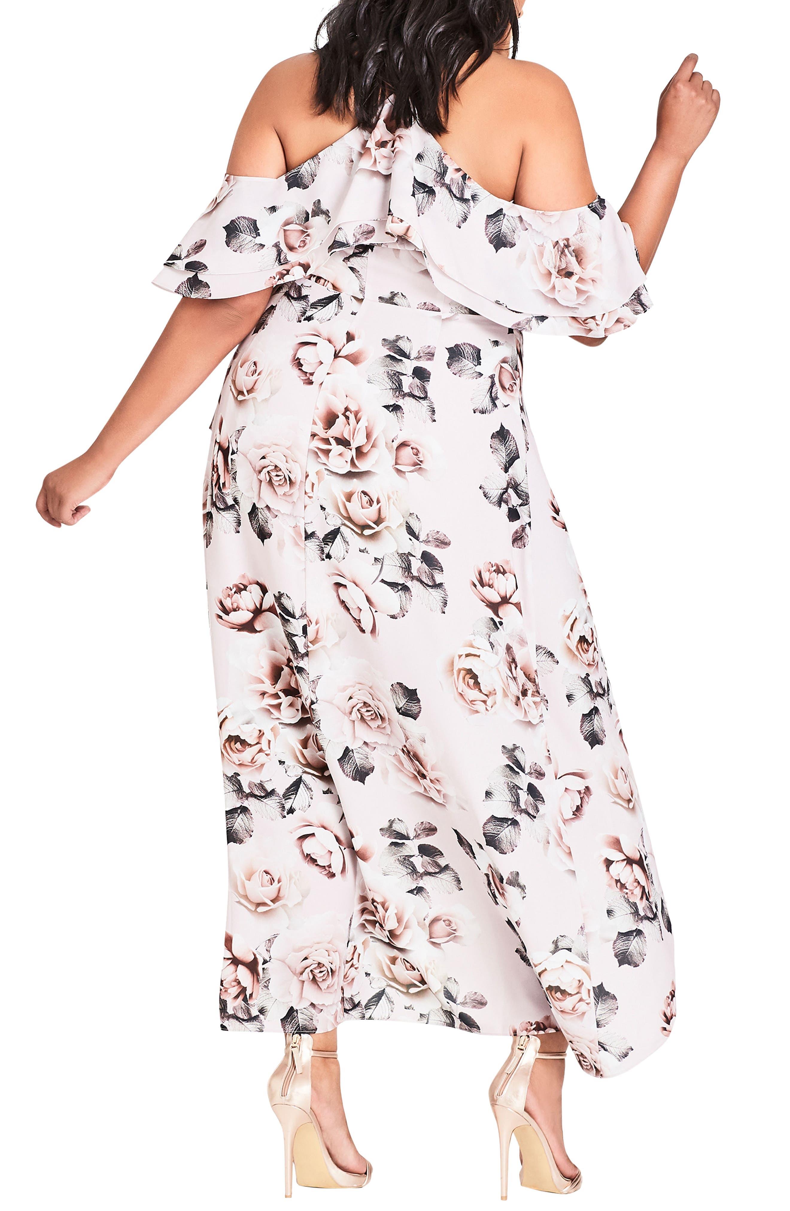 CITY CHIC, Champagne Rose Cold Shoulder Maxi Dress, Alternate thumbnail 2, color, CHAMPAGNE ROSE