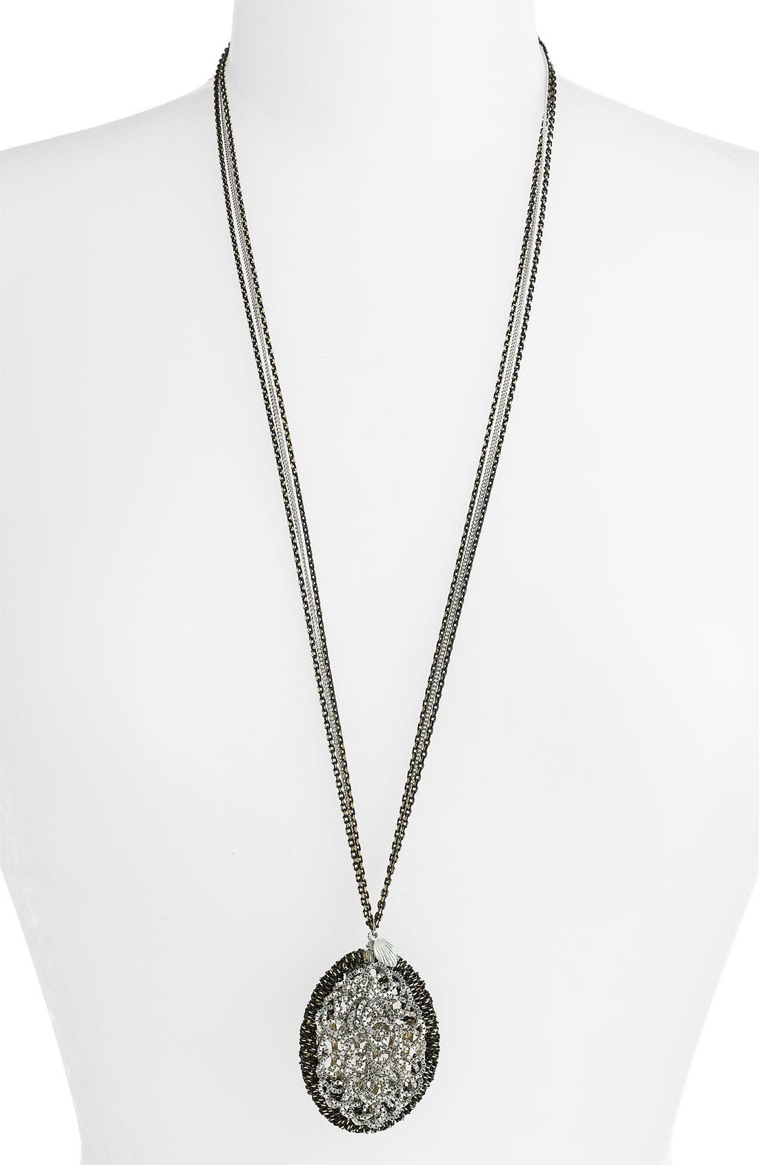 CARA, Couture Twisted Chain Pendant Necklace, Main thumbnail 1, color, 040