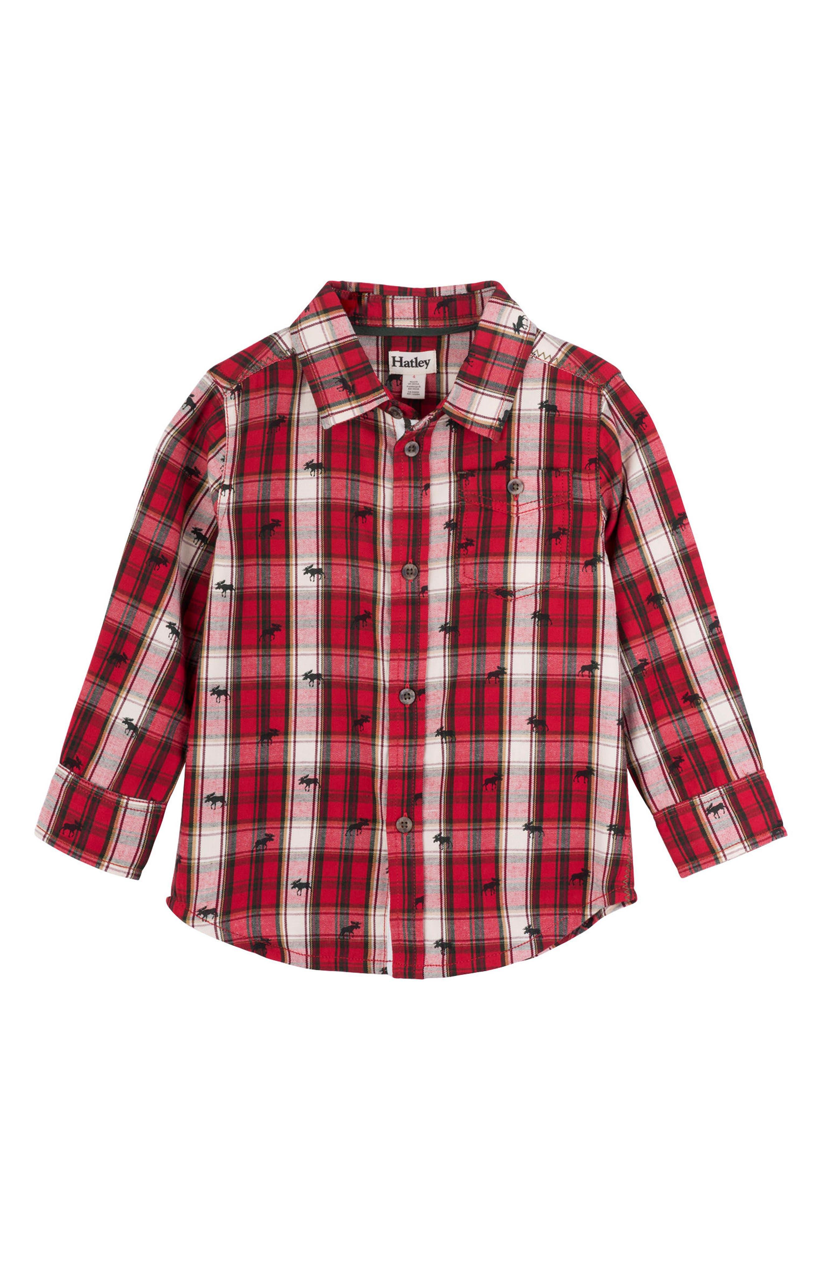 HATLEY, Tiny Moose Plaid Woven Shirt, Main thumbnail 1, color, RED