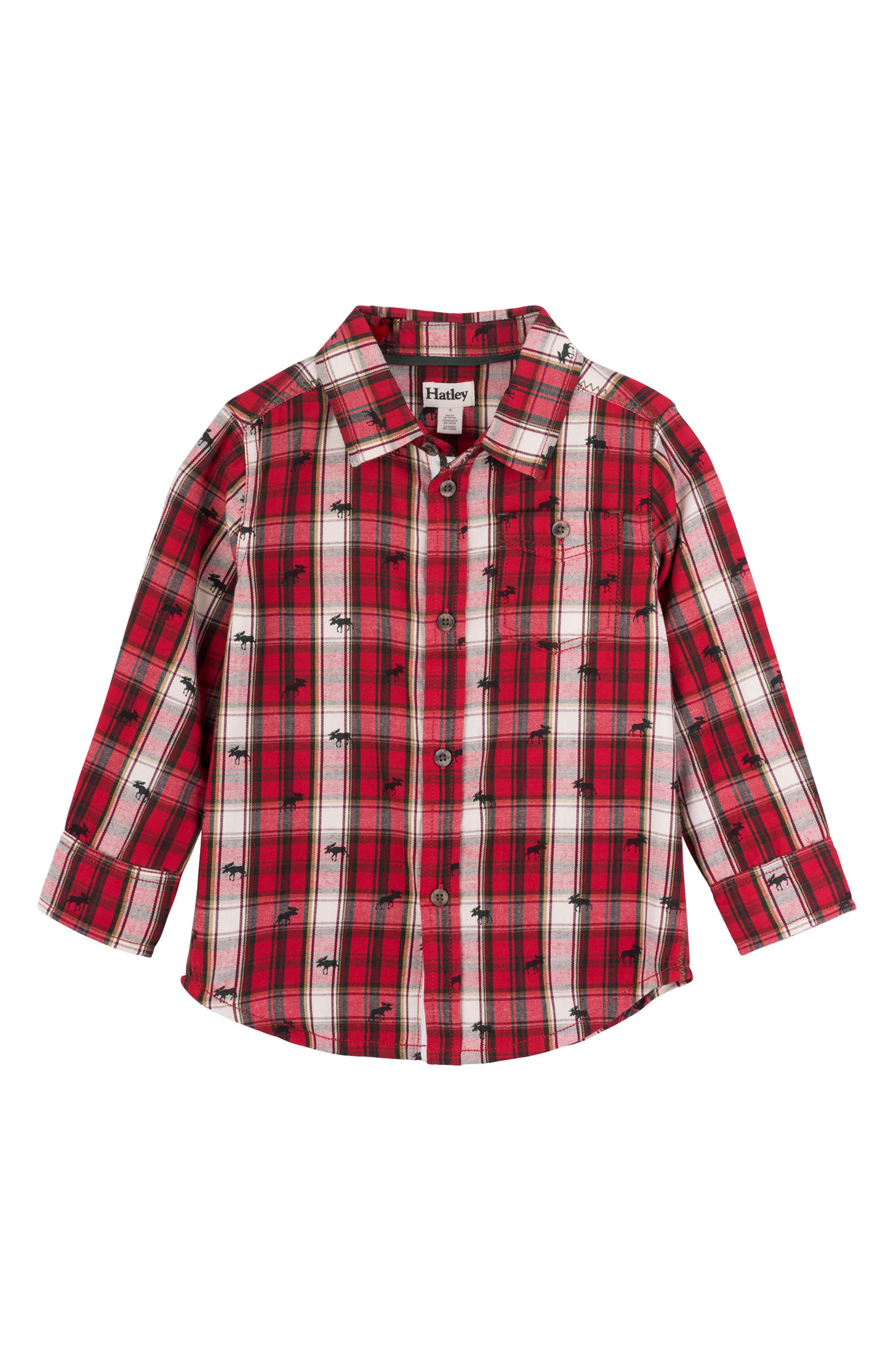 HATLEY Tiny Moose Plaid Woven Shirt, Main, color, RED