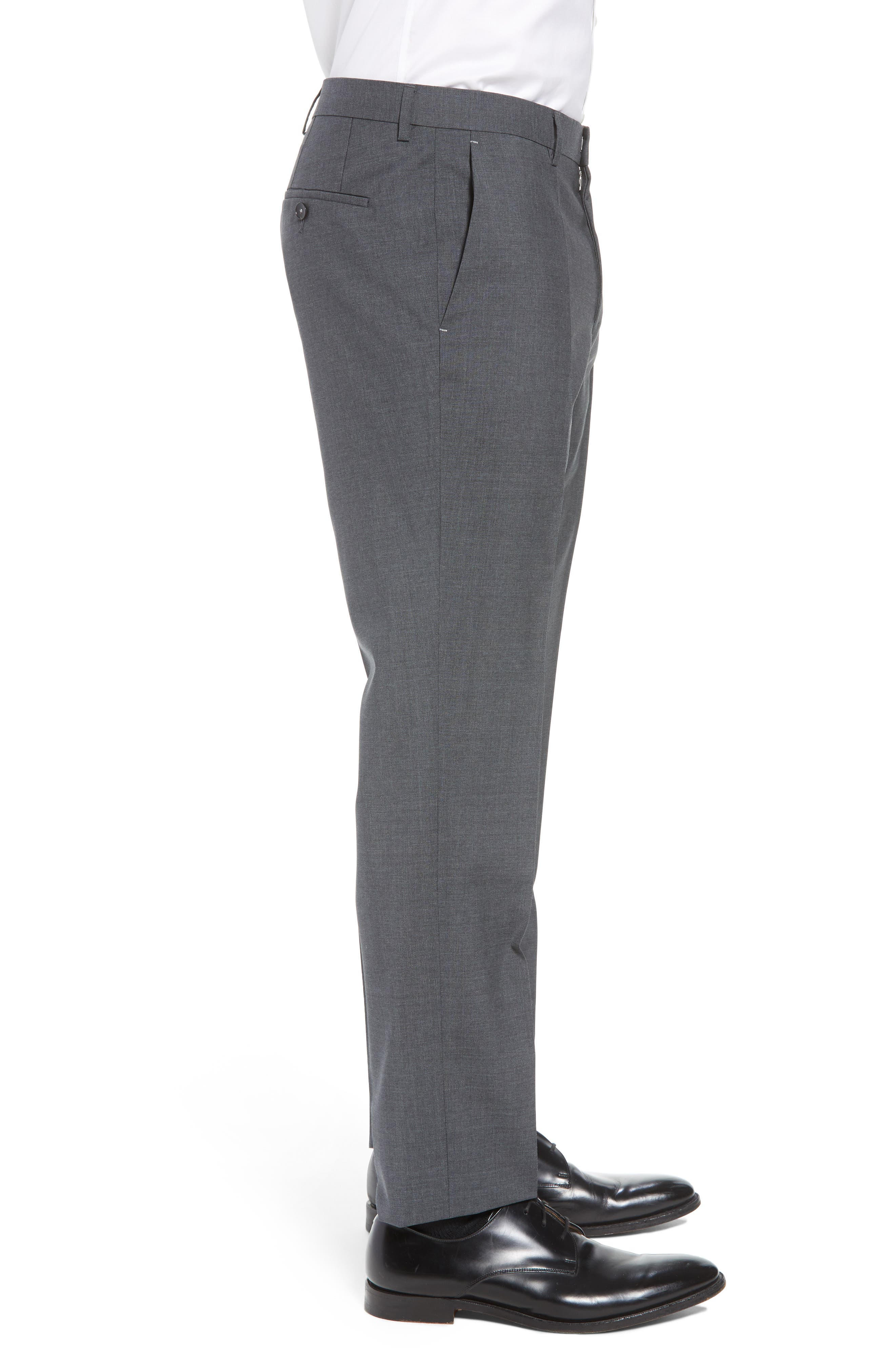 BOSS, Genesis Flat Front Solid Wool Trousers, Alternate thumbnail 3, color, CHARCOAL