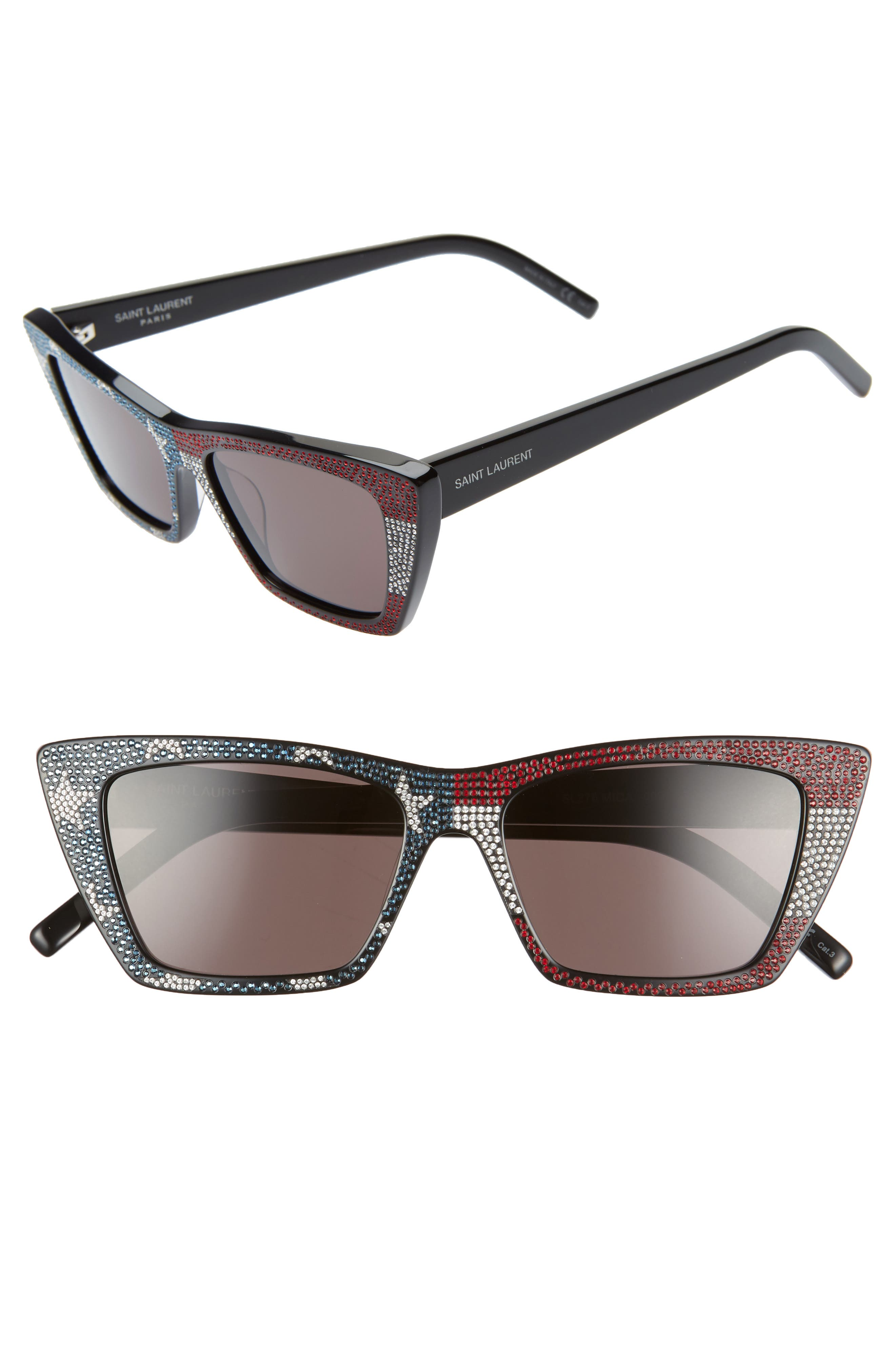 SAINT LAURENT 53mm Cat Eye Sunglasses, Main, color, BLACK/ CRYSTAL RED BLUE/ GREY