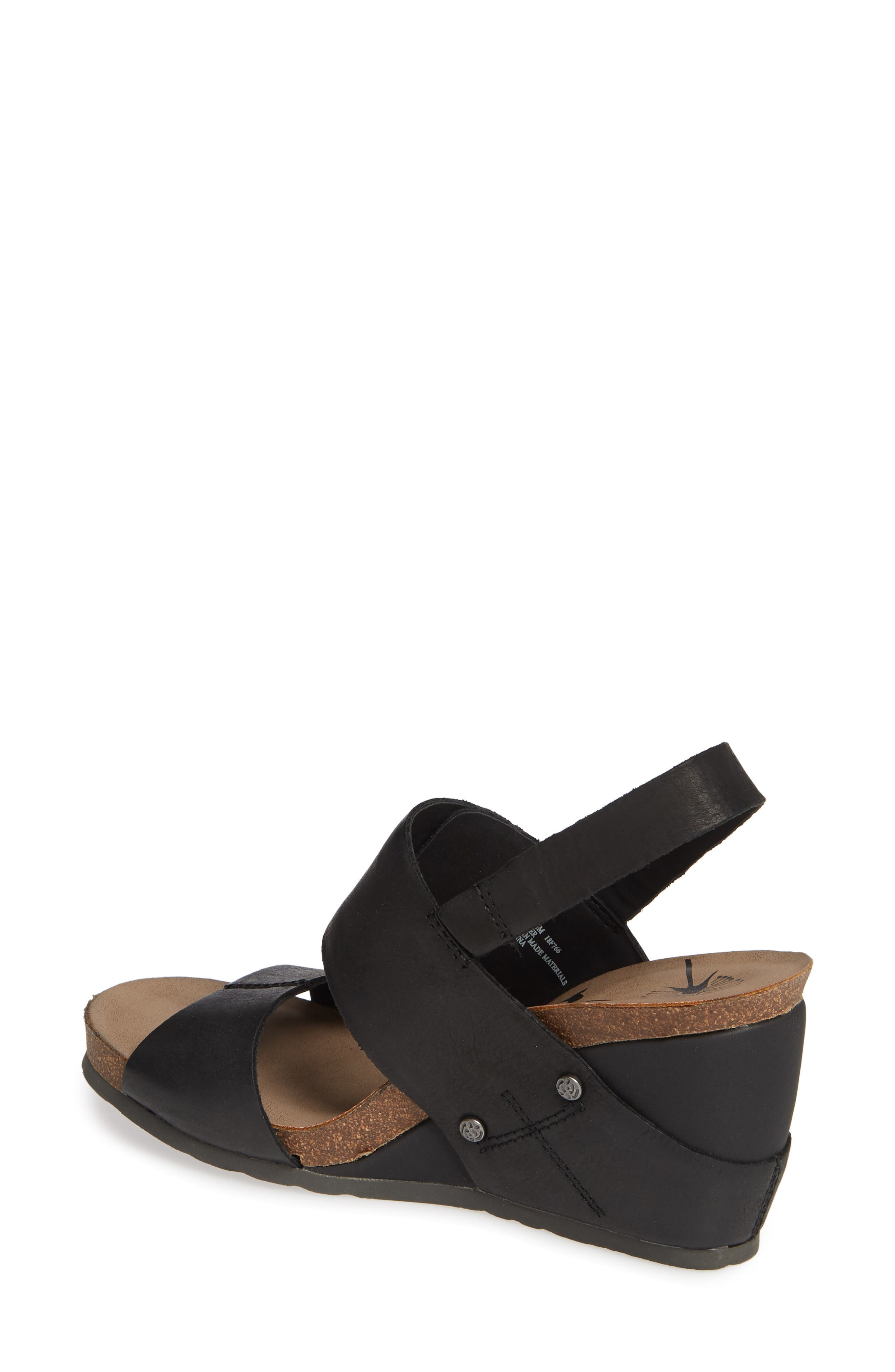 OTBT, Overnight Wedge Sandal, Alternate thumbnail 2, color, BLACK LEATHER