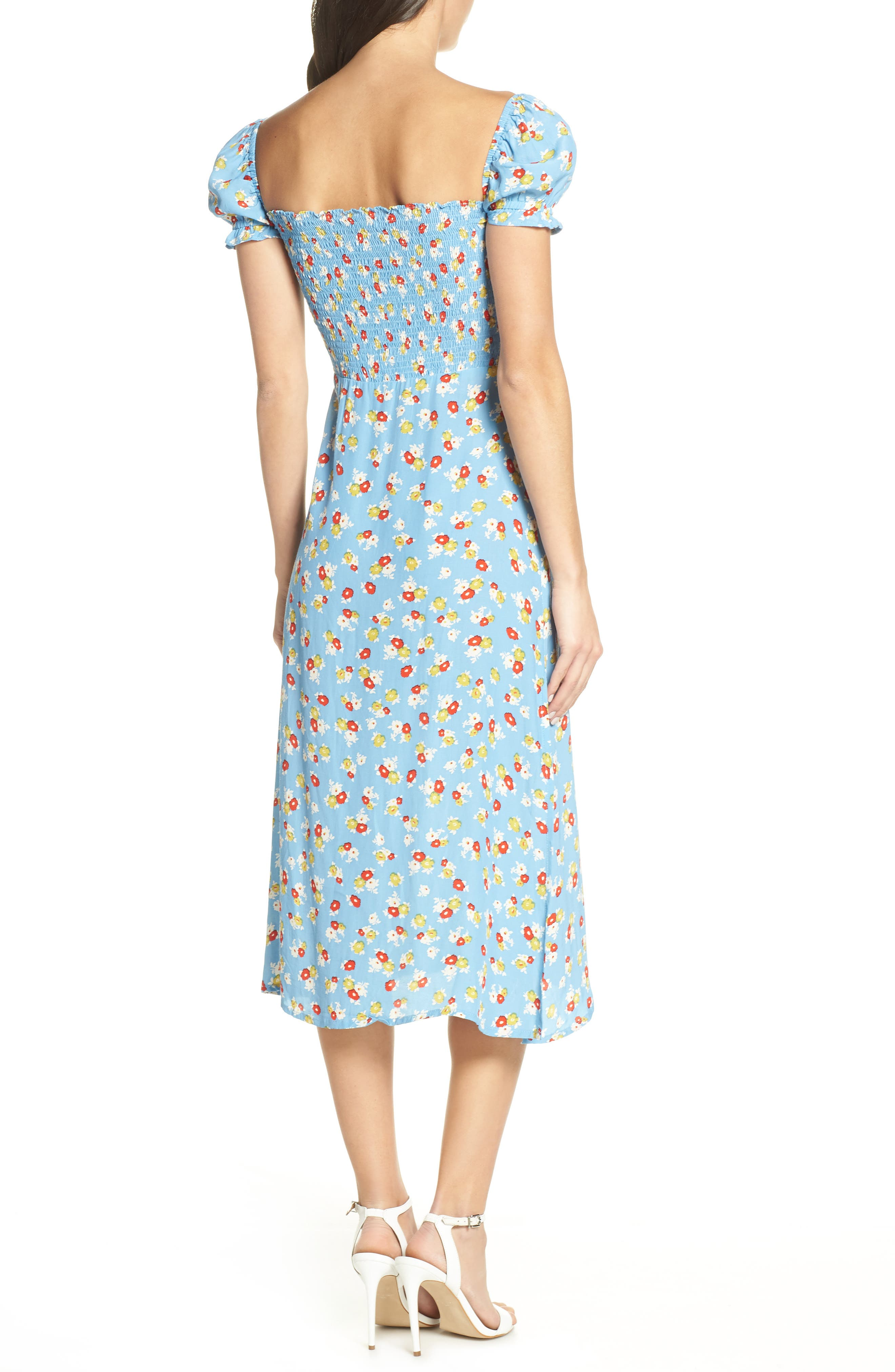 FAITHFULL THE BRAND, Castilo Jasmin Midi Dress, Alternate thumbnail 2, color, JASMIN FLORAL PRINT - BLUE