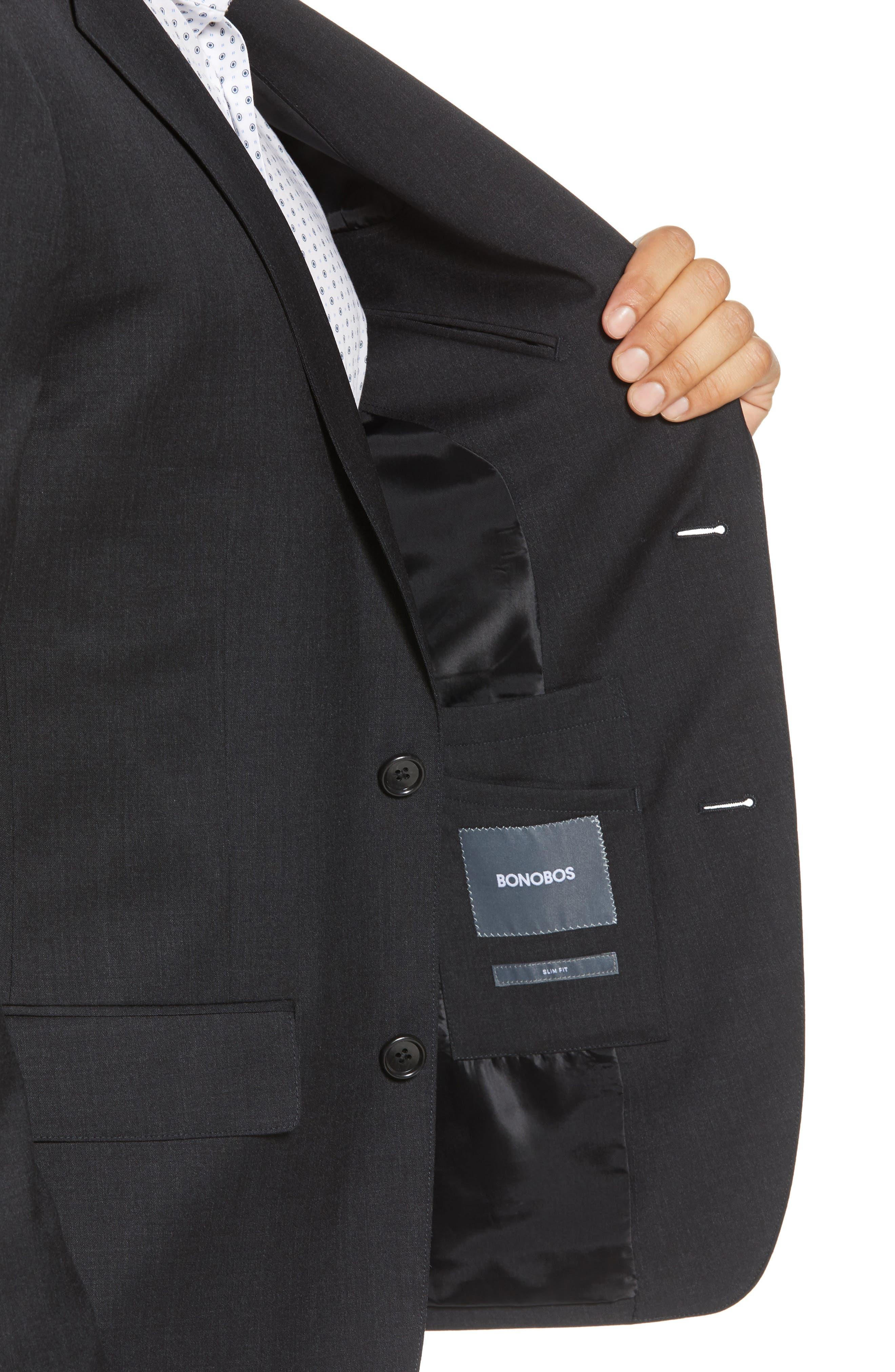 BONOBOS, Jetsetter Slim Fit Stretch Wool Blazer, Alternate thumbnail 5, color, CHARCOAL