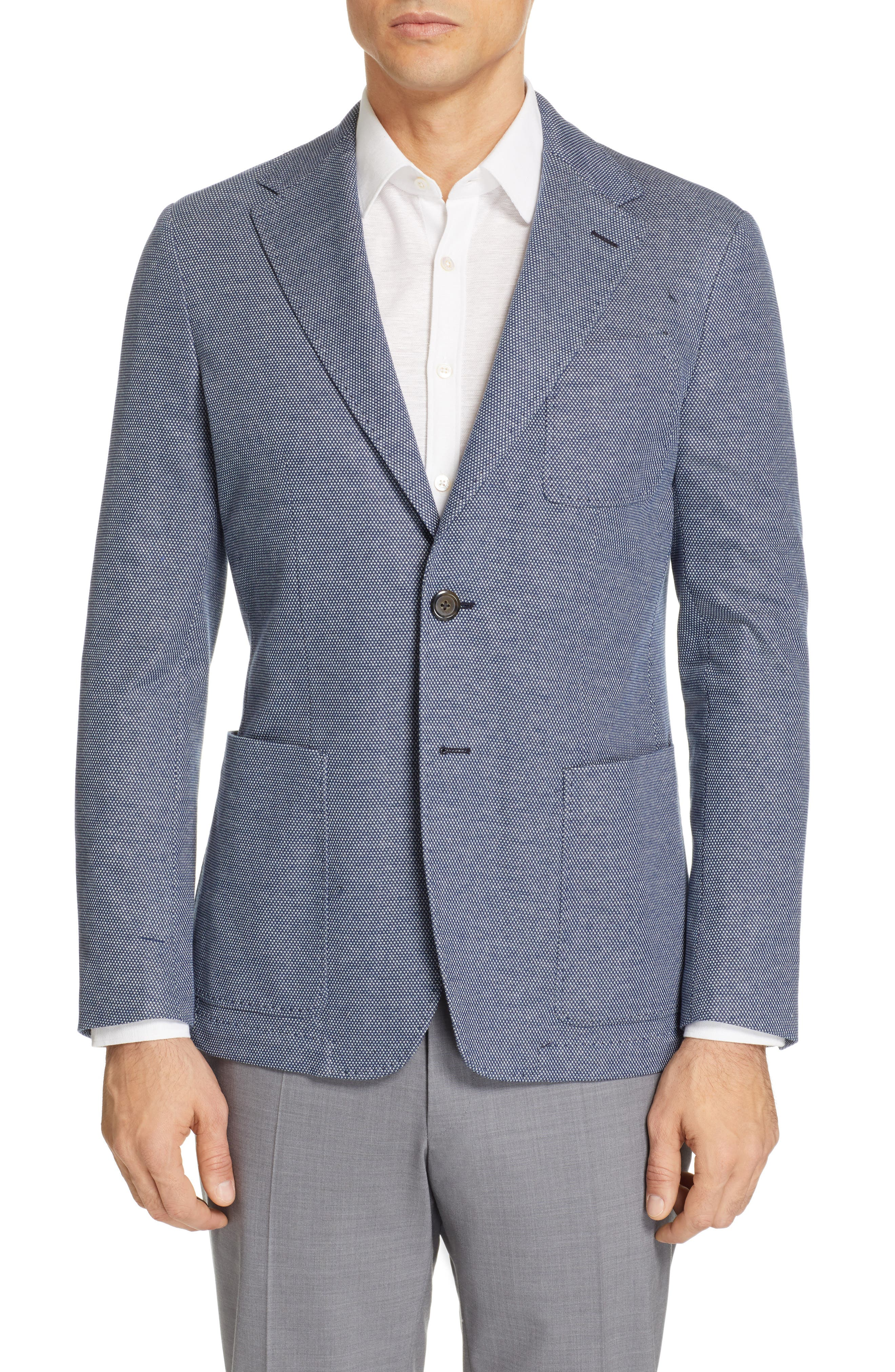CANALI, Classic Fit Cotton Blend Sport Coat, Main thumbnail 1, color, NAVY