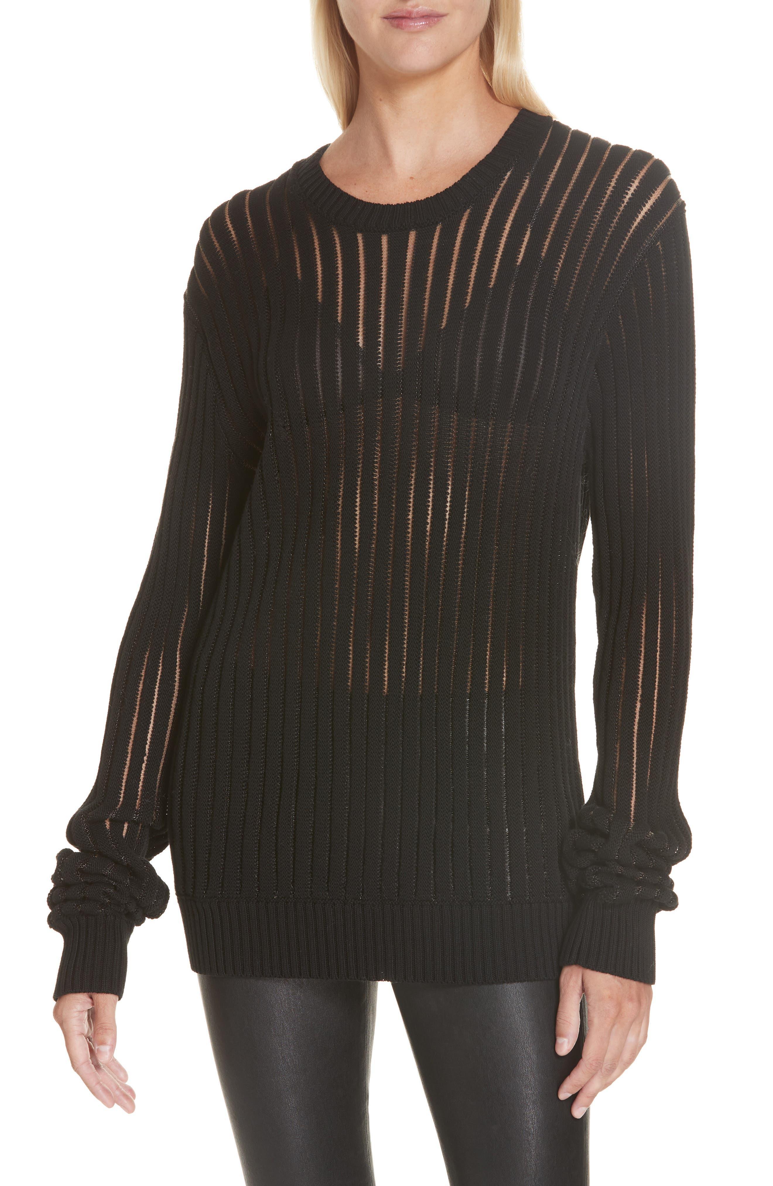 HELMUT LANG, Sheer Stripe Sweater, Main thumbnail 1, color, 001
