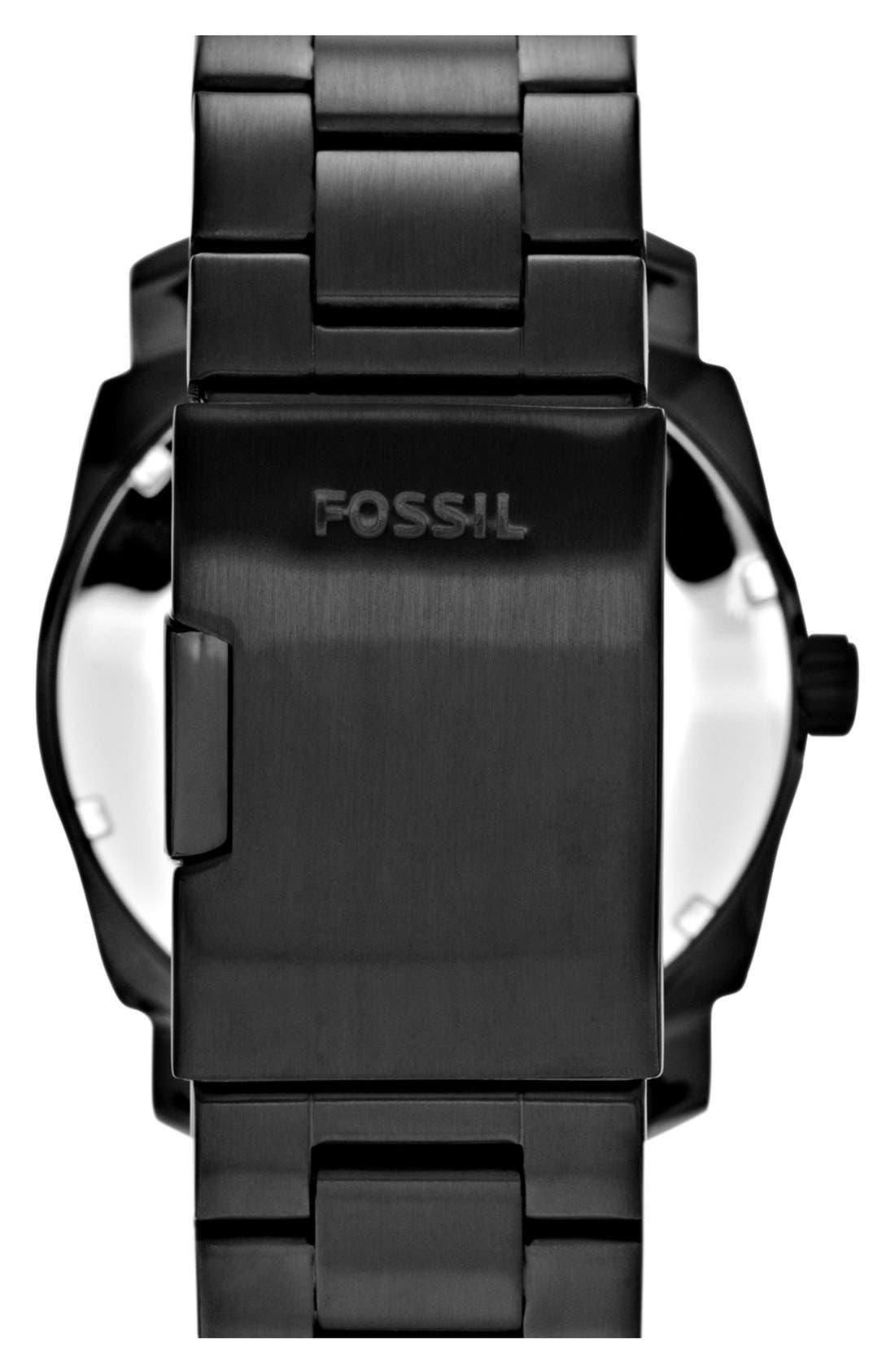 FOSSIL, 'Machine' Bracelet Watch, 42mm, Alternate thumbnail 3, color, BLACK