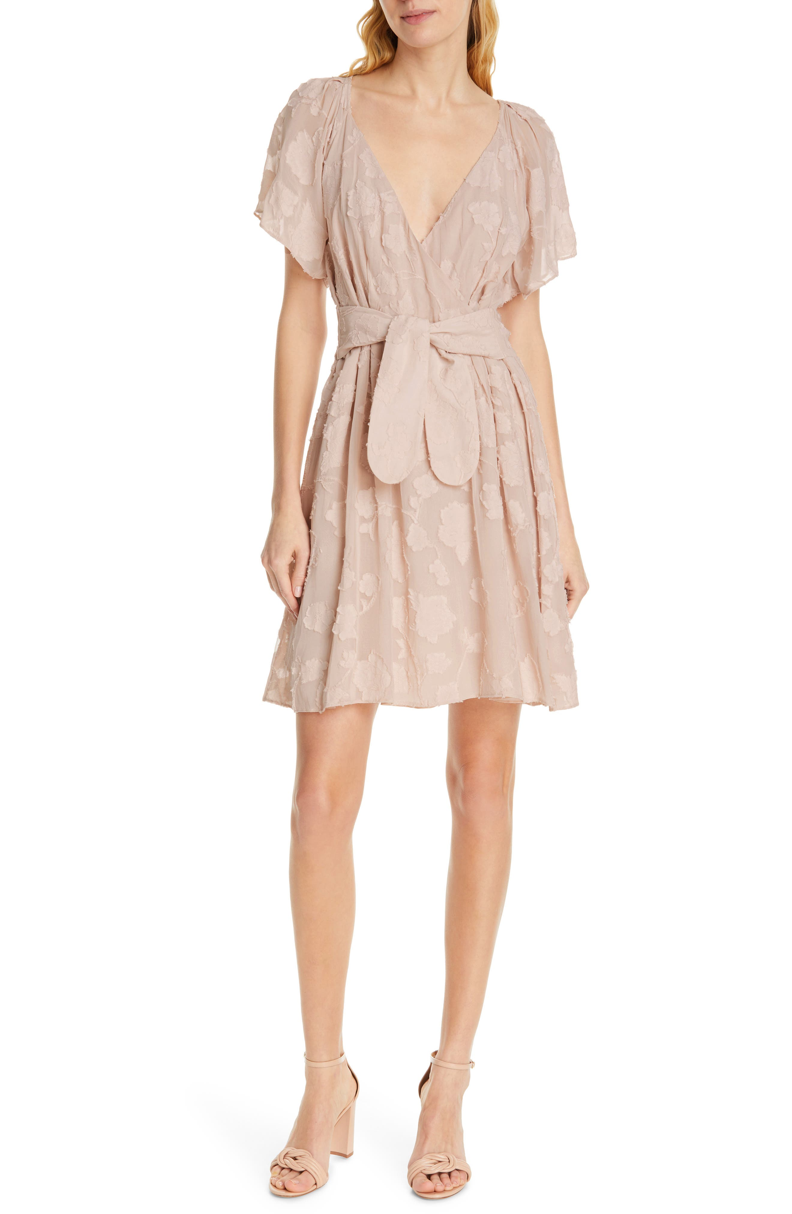 Joie Leighan Burnout Faux Wrap Dress, Pink