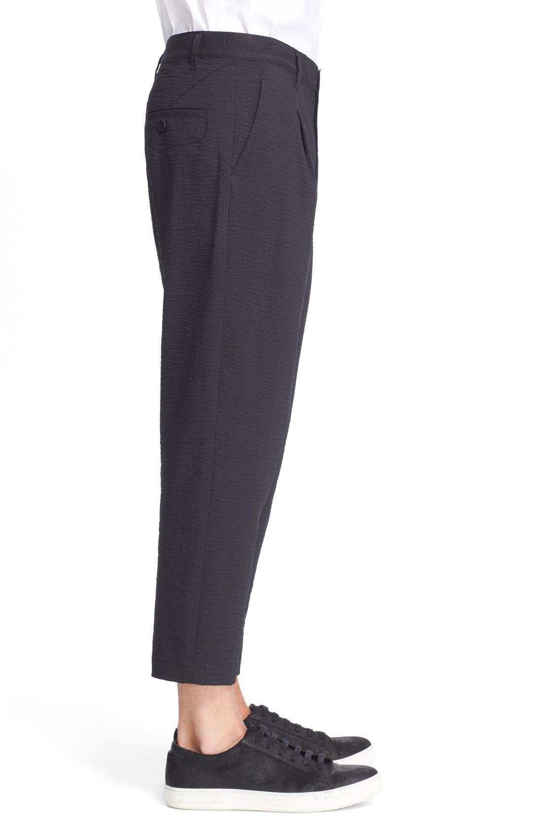 HELMUT LANG, Seersucker Trousers, Alternate thumbnail 4, color, 001