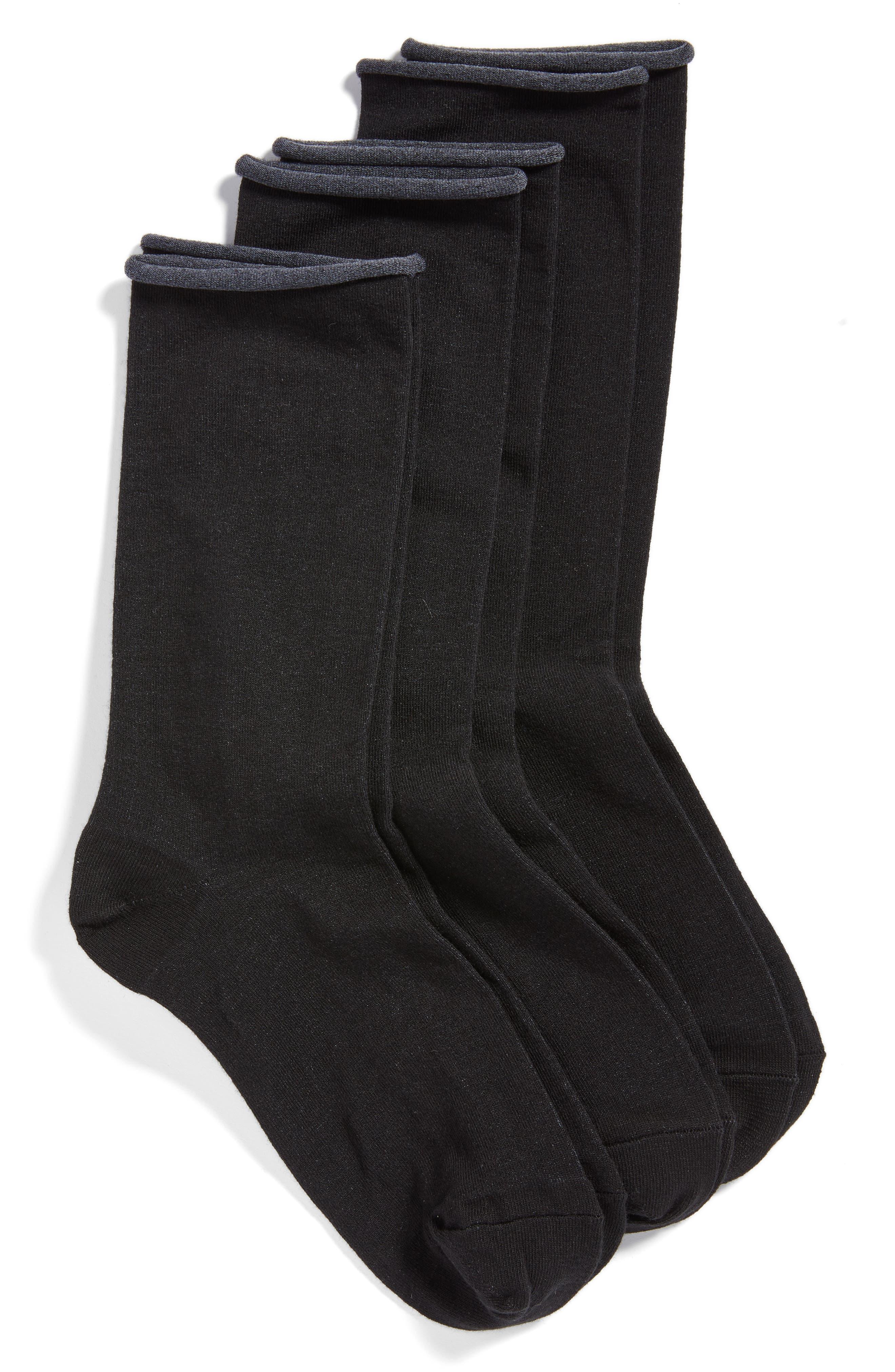 HUE, Jeans 3-Pack Crew Socks, Main thumbnail 1, color, BLACK