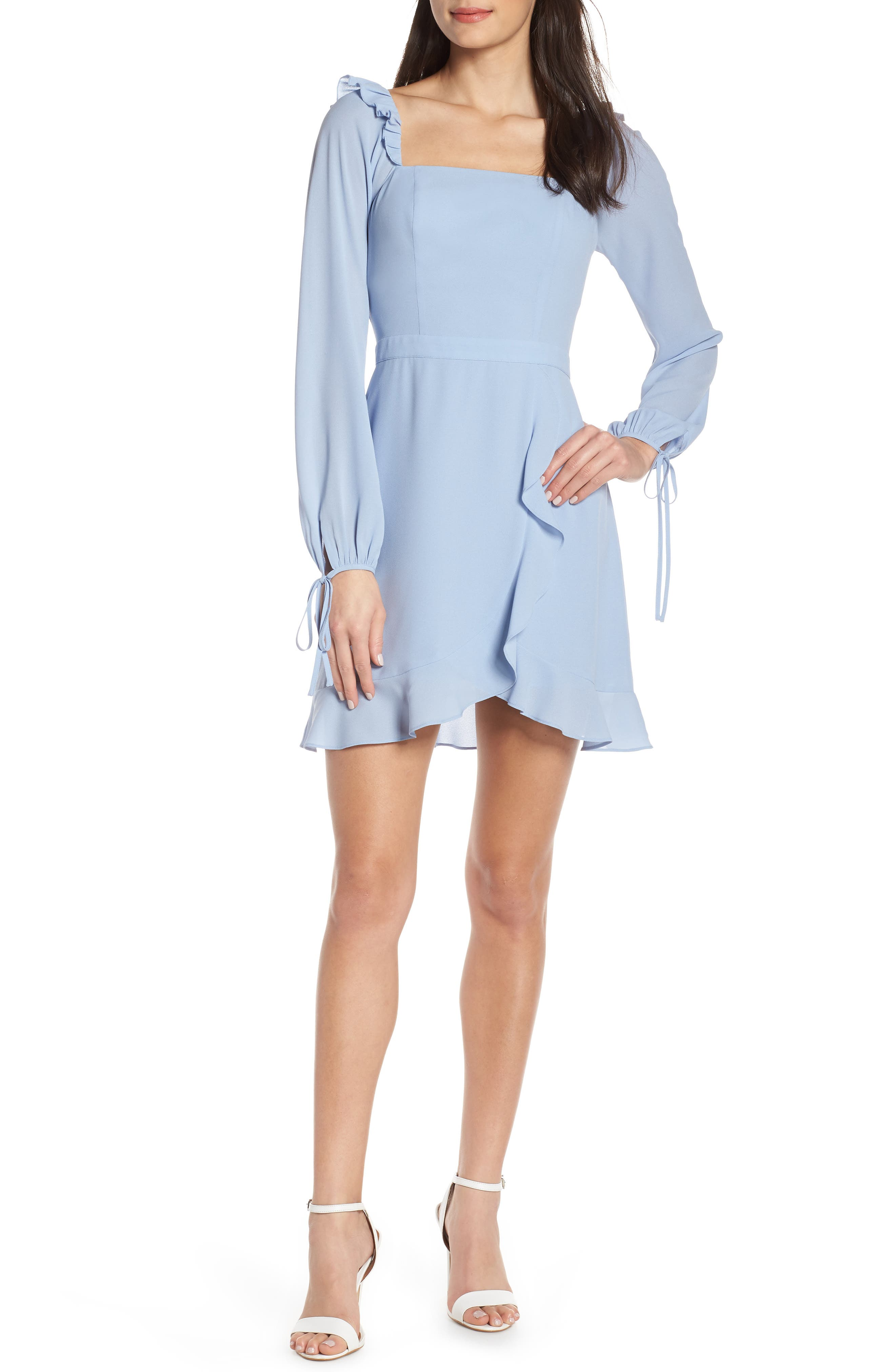 ALI & JAY, In Bloom Georgette Asymmetrical Dress, Main thumbnail 1, color, CHAMBRAY