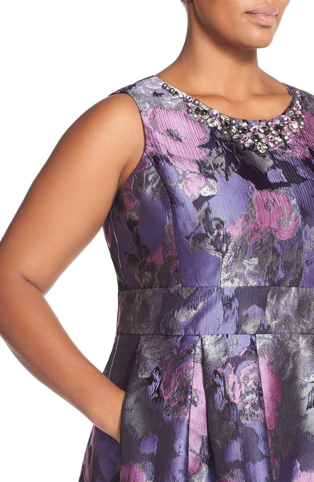 ELIZA J, Embellished Neck Metallic Jacquard Fit & Flare Dress, Alternate thumbnail 5, color, 523