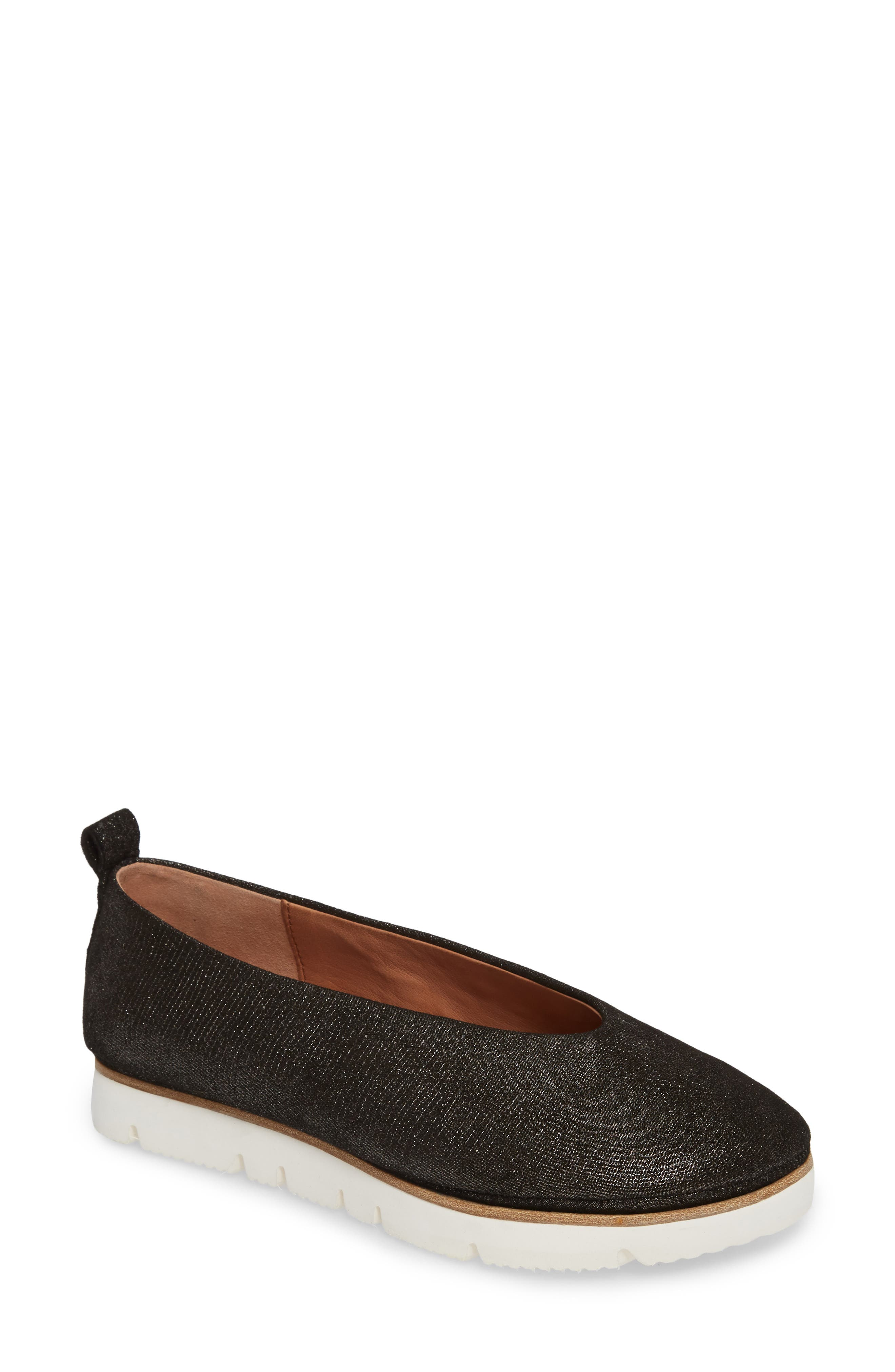 GENTLE SOULS BY KENNETH COLE, Demi Flat, Main thumbnail 1, color, BLACK EMBOSSED LEATHER