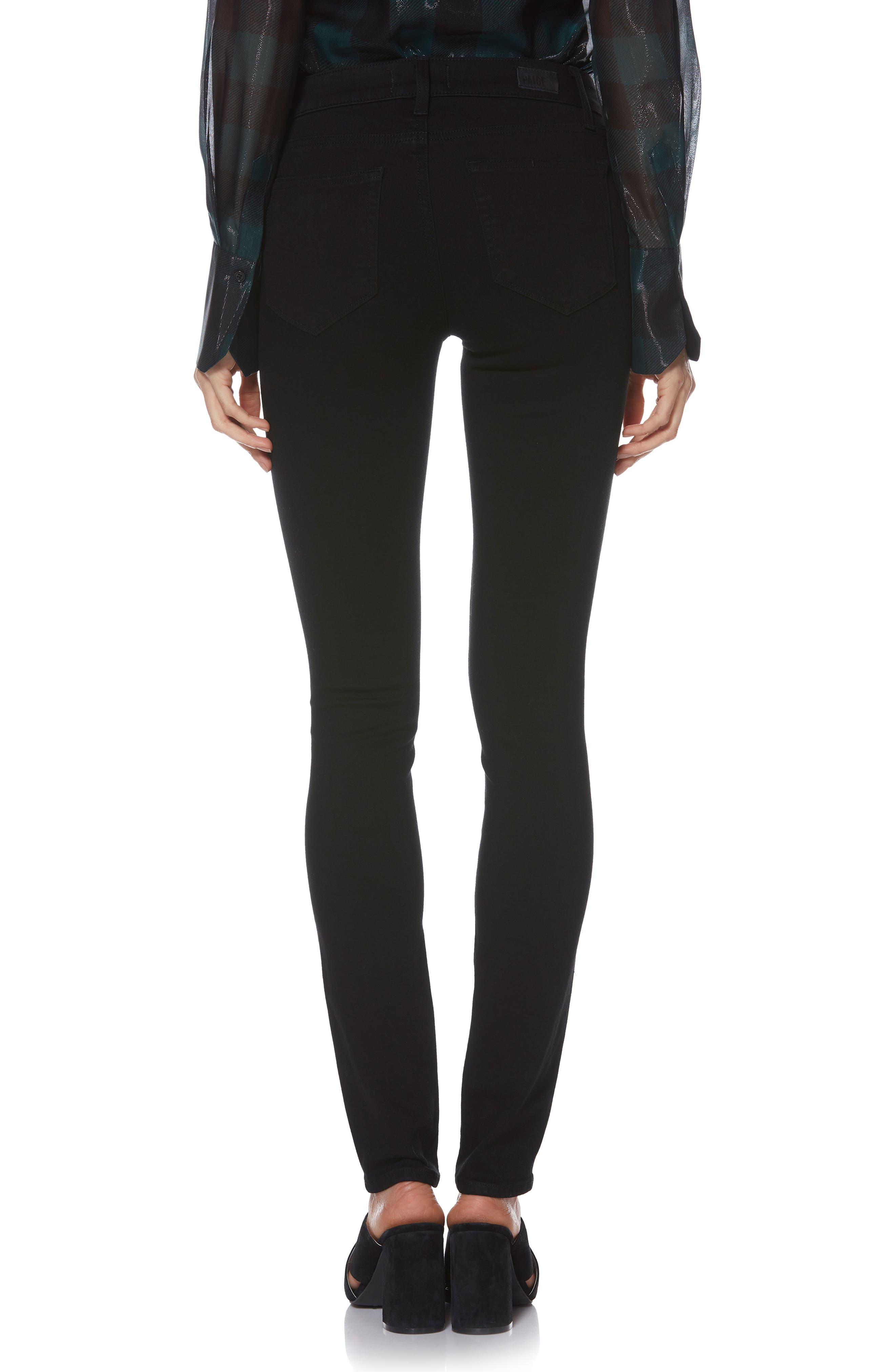 PAIGE, Transcend - Skyline Skinny Jeans, Alternate thumbnail 5, color, BLACK SHADOW