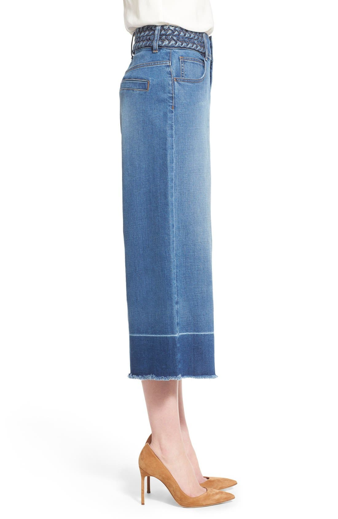 OLIVIA PALERMO + CHELSEA28, High Rise Denim Culottes, Alternate thumbnail 3, color, 410