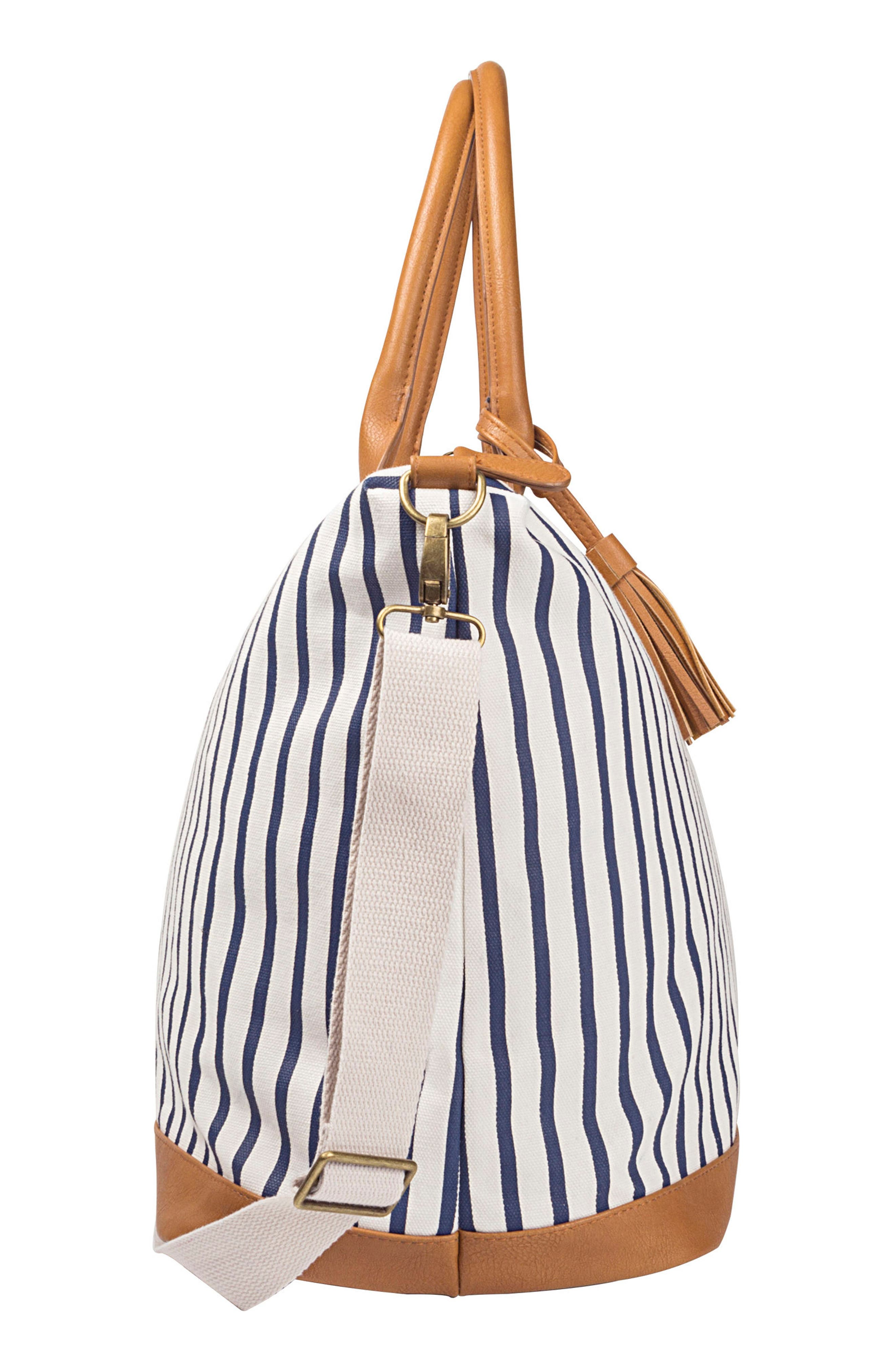 CATHY'S CONCEPTS, Monogram Oversized Tote, Alternate thumbnail 3, color, BLUE