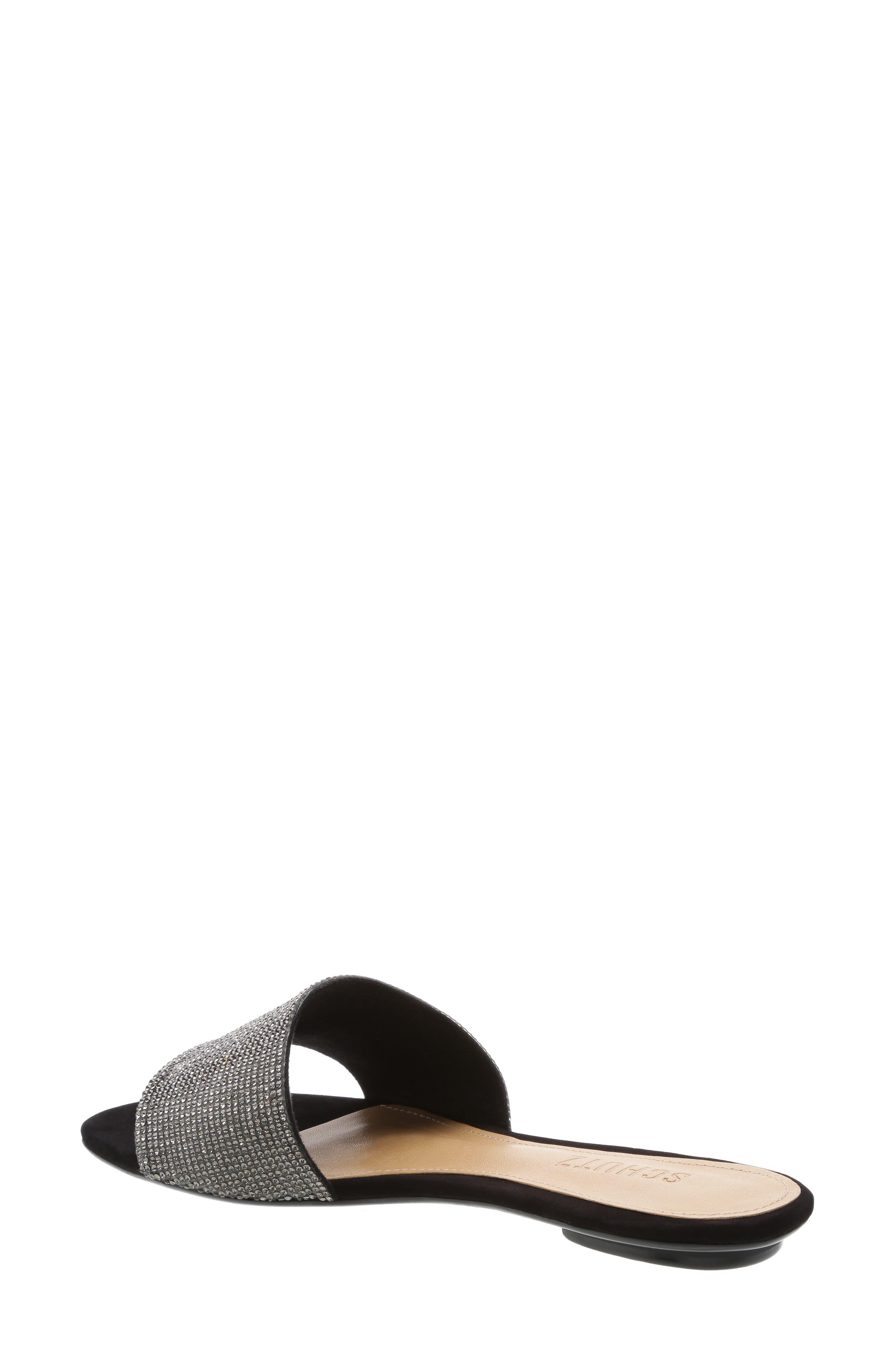 SCHUTZ, Queren Embellished Slide Sandal, Alternate thumbnail 2, color, BLACK/ BLACK DIAMOND FABRIC