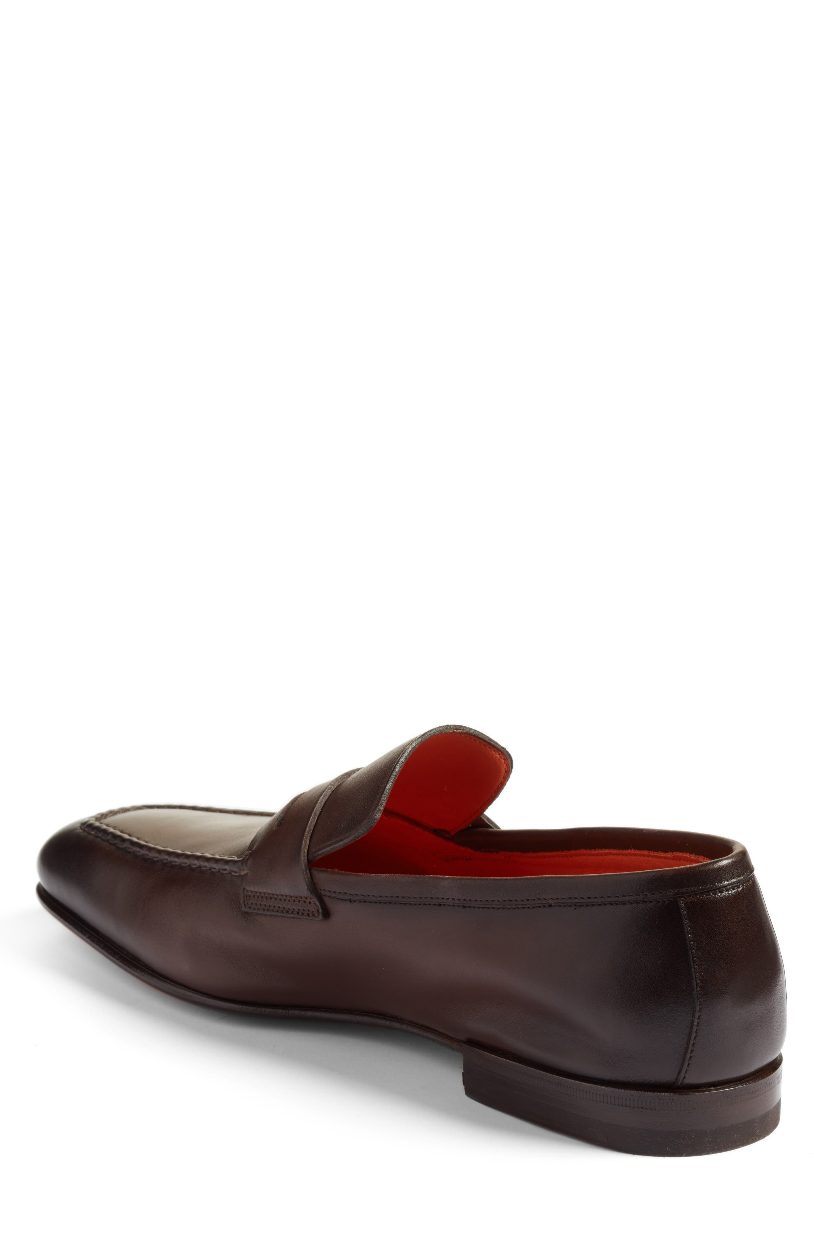 SANTONI, Fox Packable Penny Loafer, Alternate thumbnail 2, color, DARK BROWN LEATHER