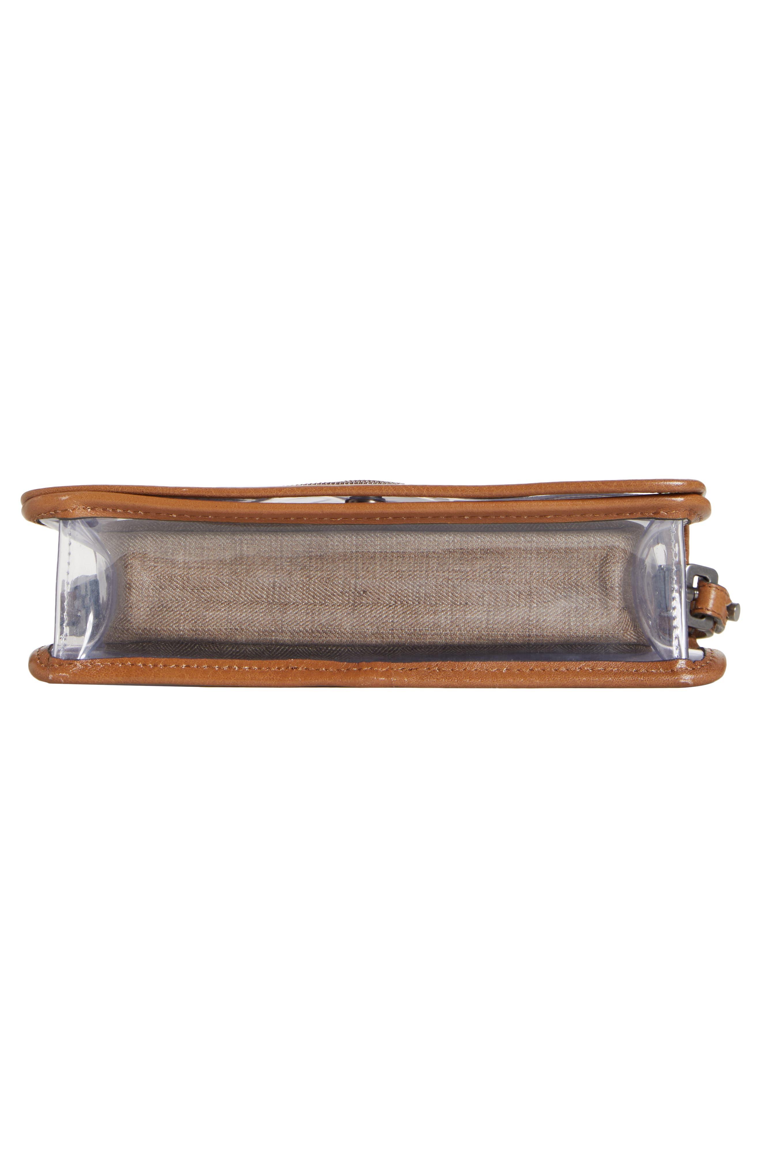 BRUNELLO CUCINELLI, Monili & Leather Trim Clear Shoulder Bag, Alternate thumbnail 6, color, LT BROWN
