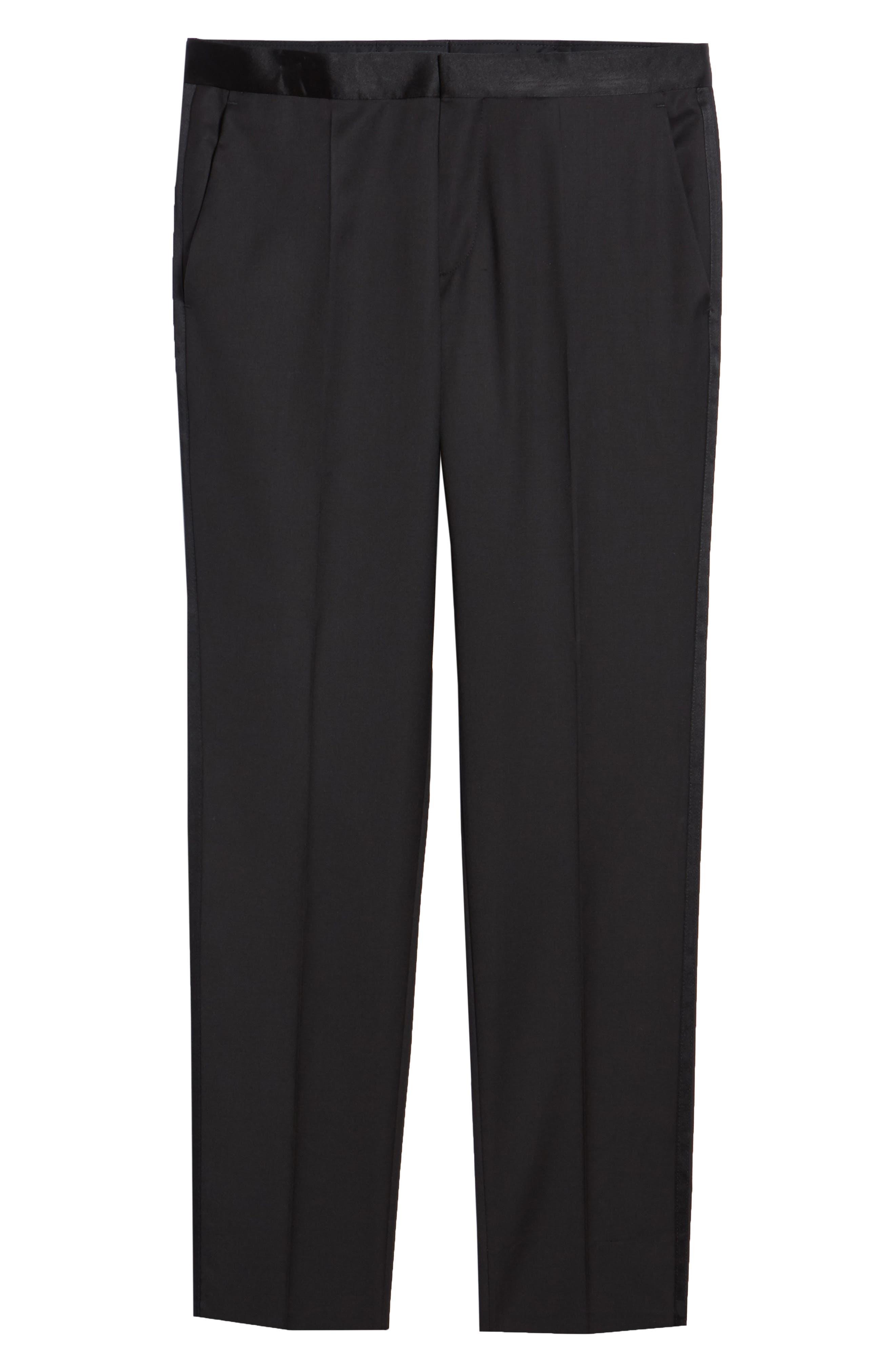 TED BAKER LONDON, Josh Flat Front Wool & Mohair Tuxedo Pants, Alternate thumbnail 6, color, BLACK