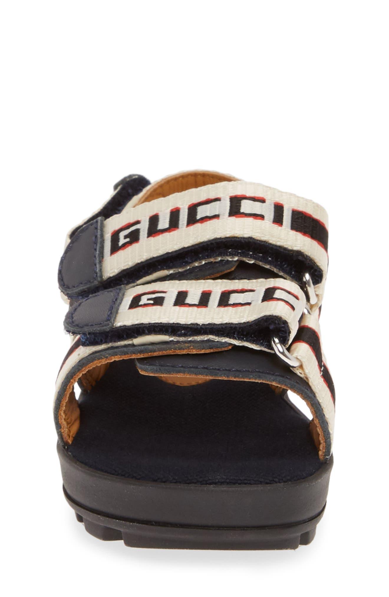 GUCCI, Sam Logo Strap Slingback Sandal, Alternate thumbnail 4, color, BLUE