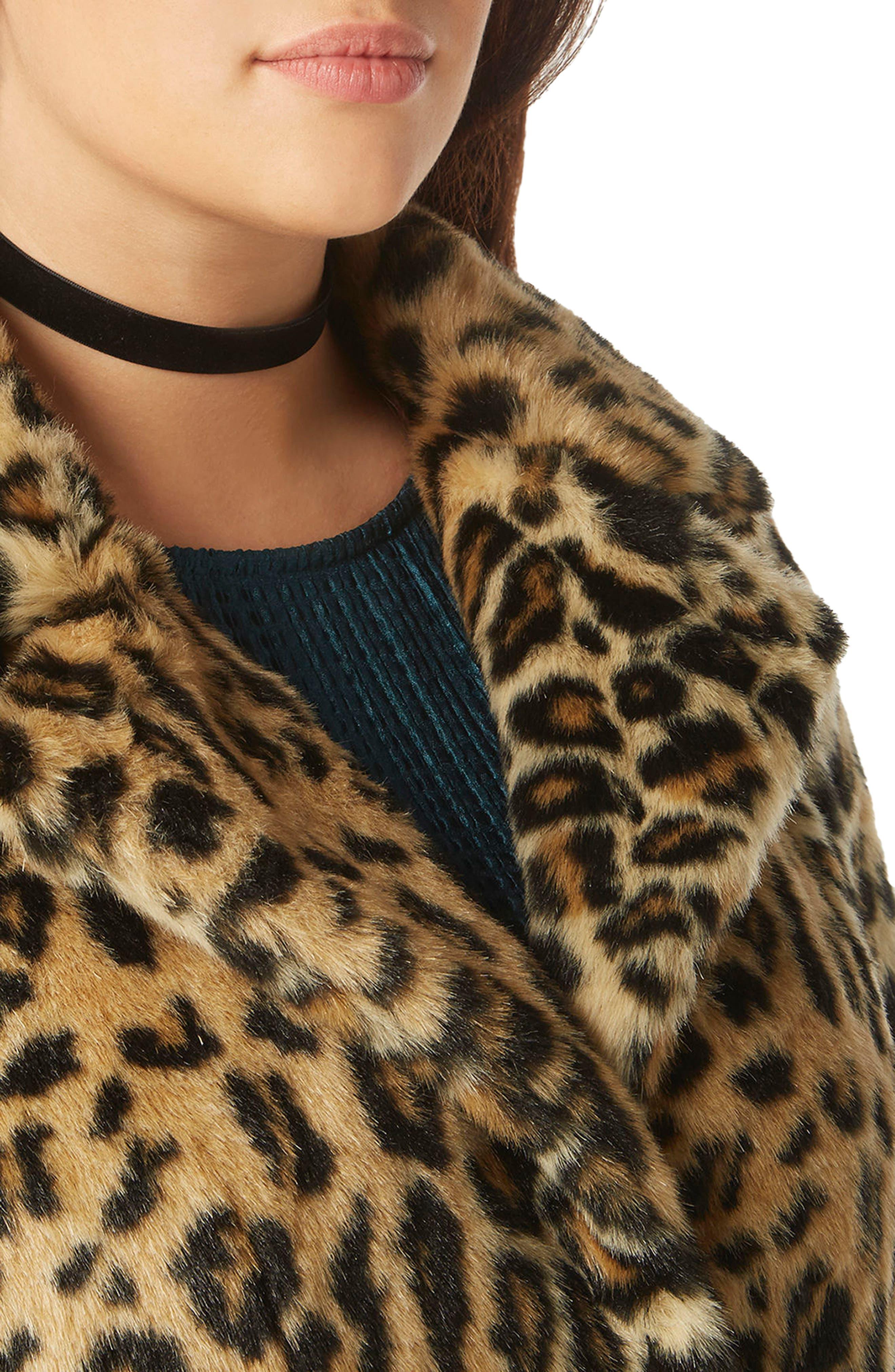 EVANS, Leopard Print Faux Fur Coat, Alternate thumbnail 3, color, 200