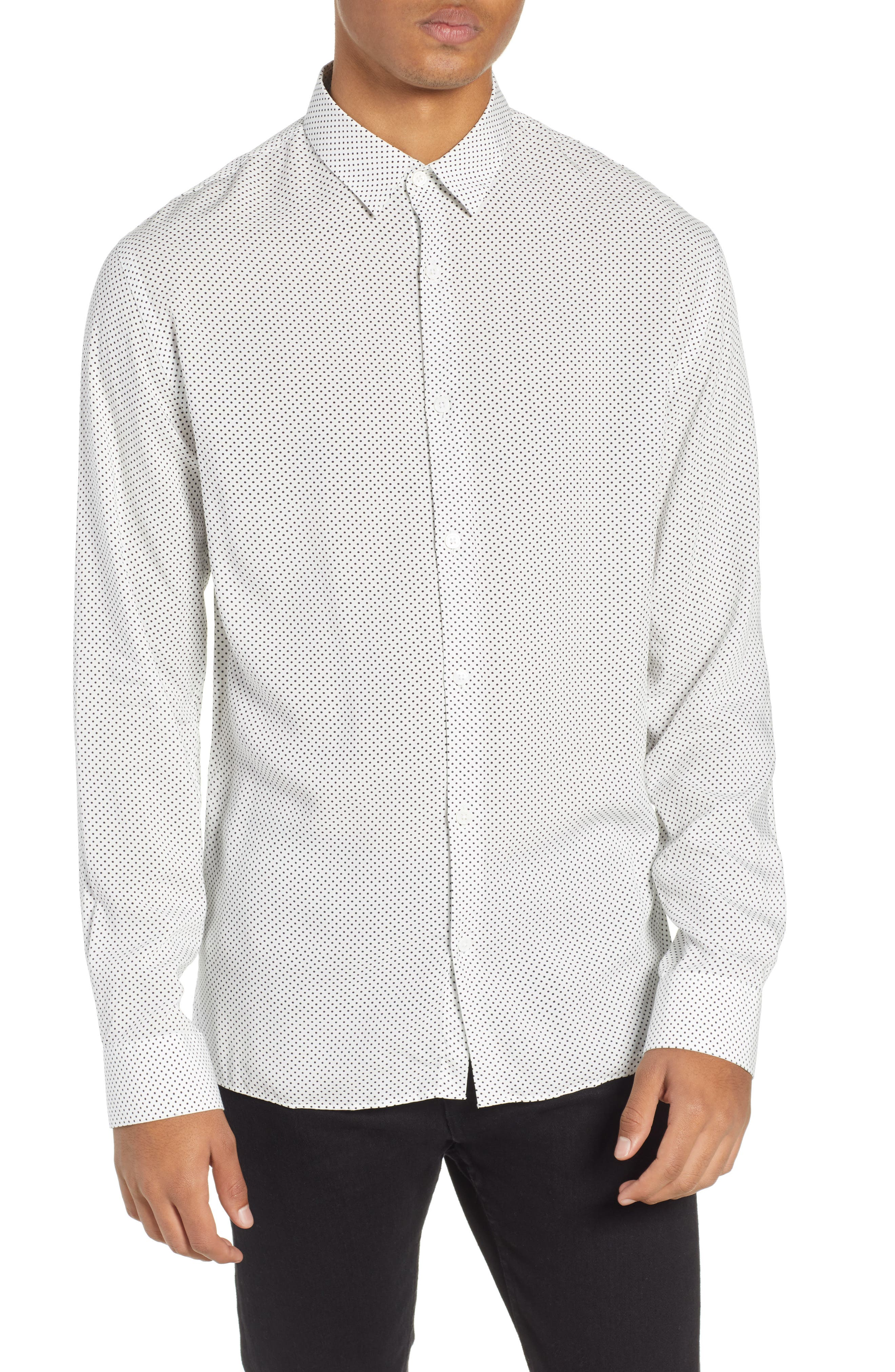 THE KOOPLES Dot Print Sport Shirt, Main, color, BEIGE-BLACK