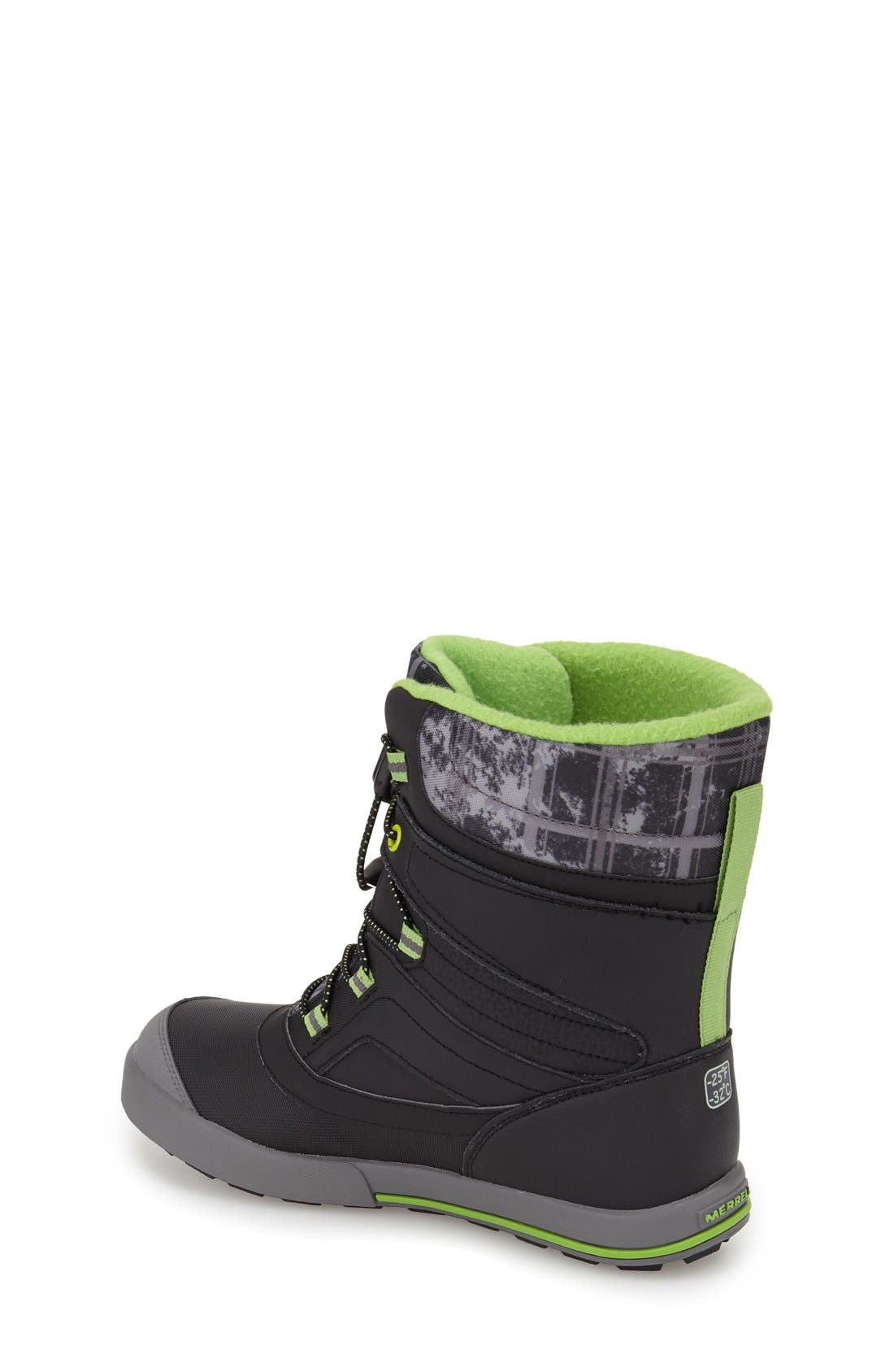 MERRELL, 'Snow Bank 2' Waterproof Boot, Alternate thumbnail 2, color, 001