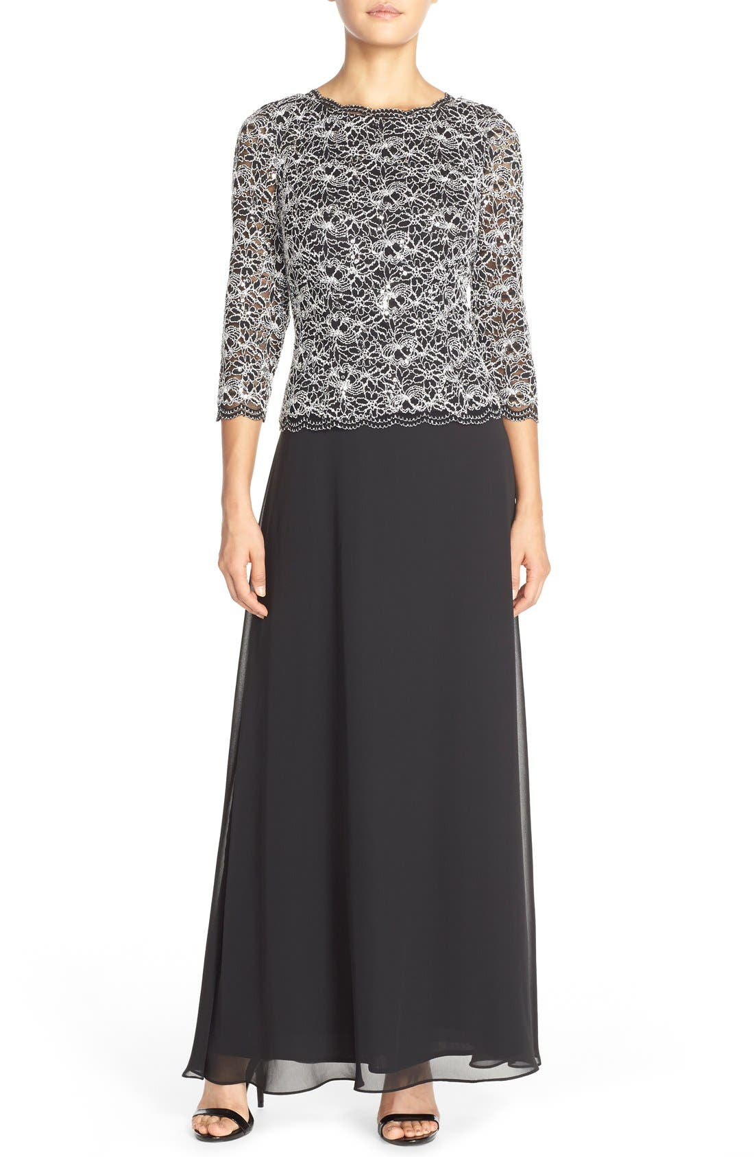 ALEX EVENINGS, Lace & Chiffon Mock Two-Piece Gown, Main thumbnail 1, color, BLACK/ WHITE