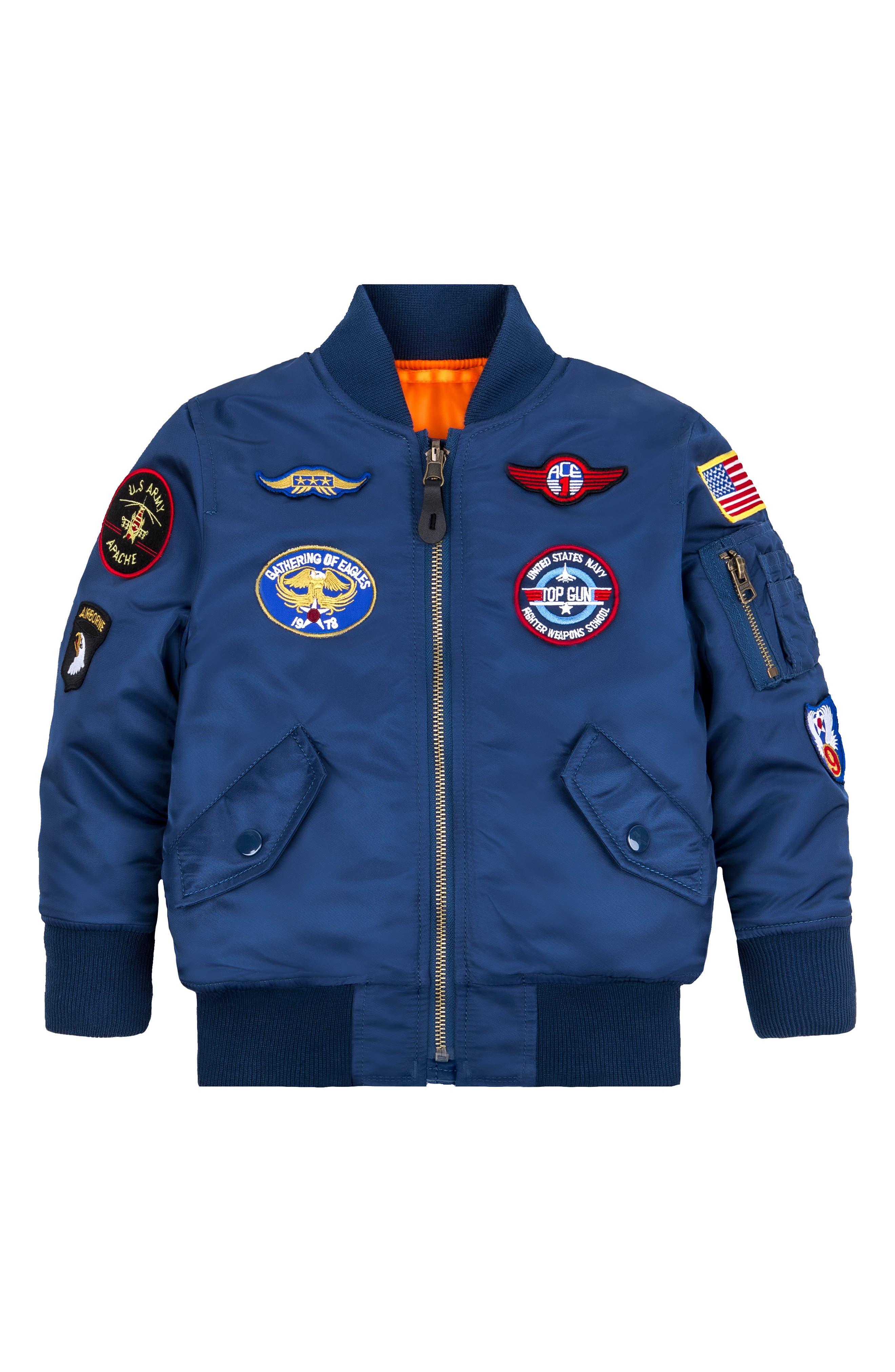 ALPHA INDUSTRIES, MA-1 Patch Flight Jacket, Main thumbnail 1, color, BLUE NO 9