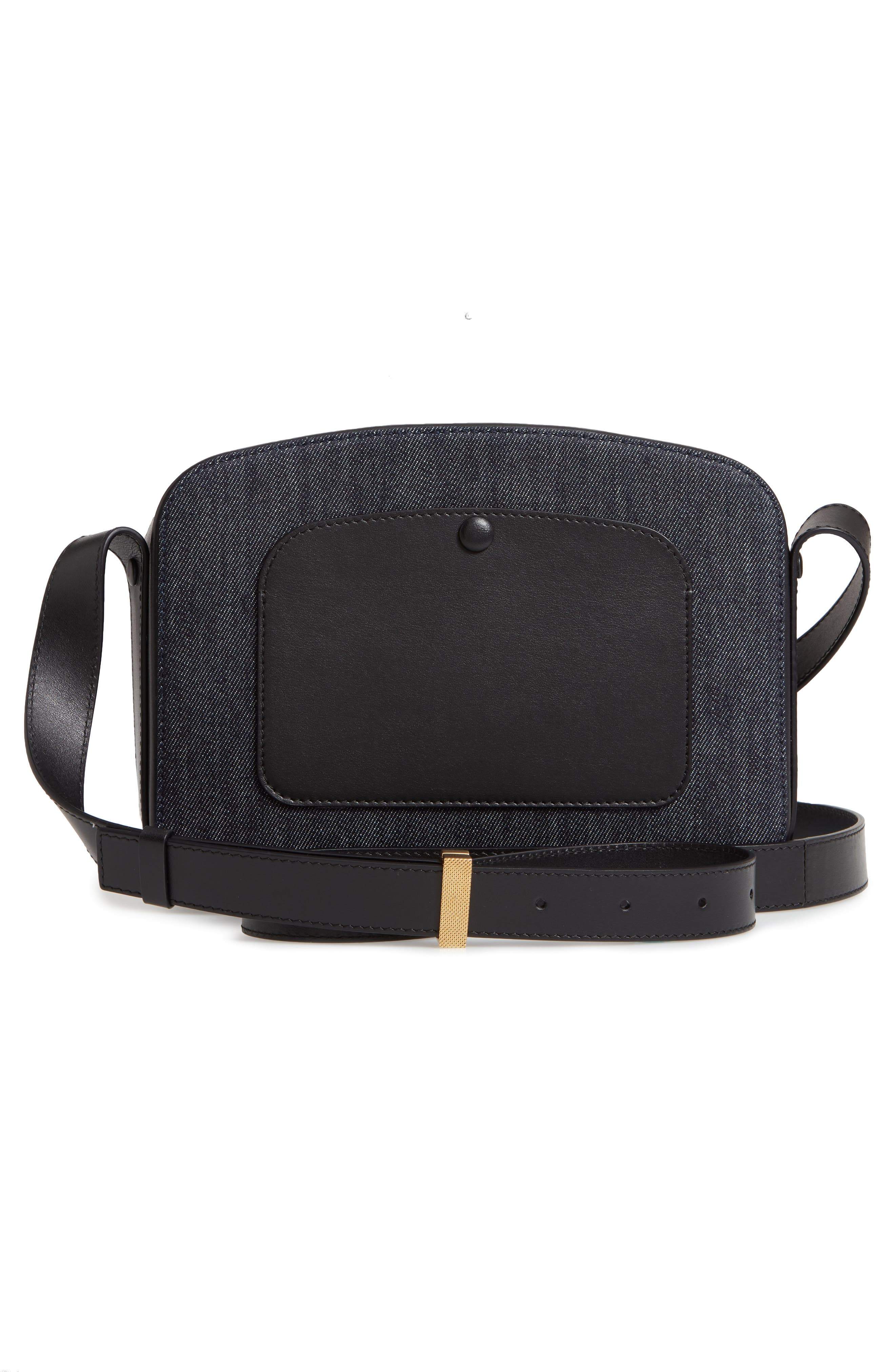 VICTORIA BECKHAM, Vanity Denim & Leather Camera Bag, Alternate thumbnail 3, color, INDIGO/ BLACK