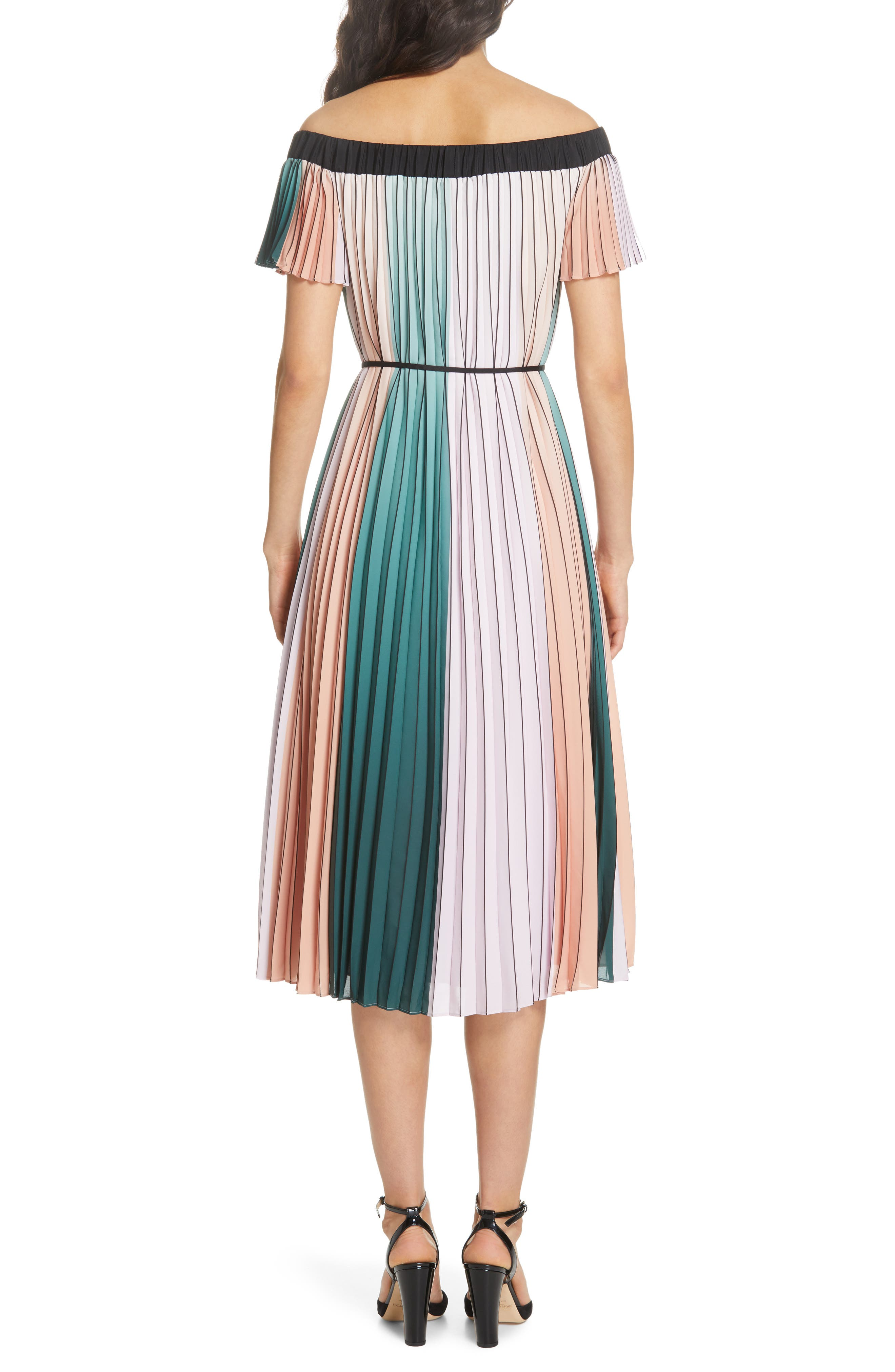 TED BAKER LONDON, Fernee Colorblock Pleated Dress, Alternate thumbnail 2, color, LILAC