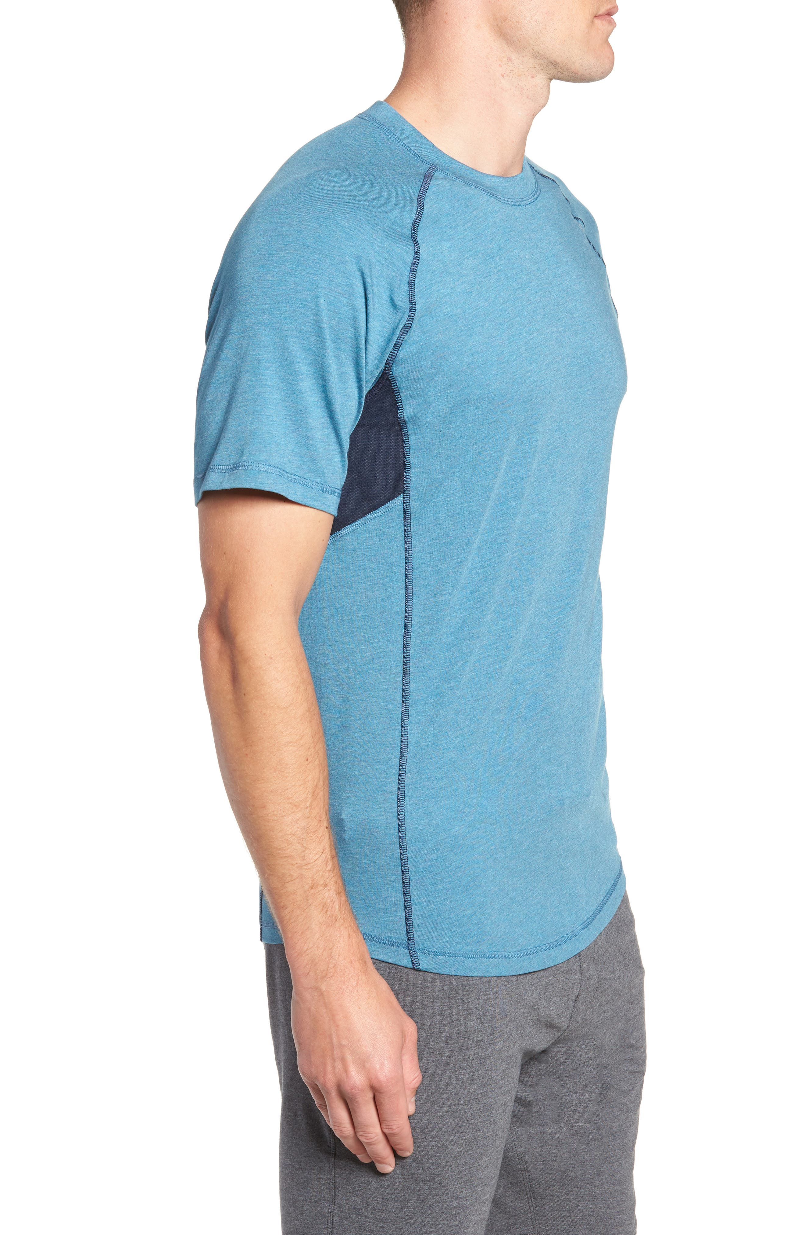 TASC PERFORMANCE, Charge II T-Shirt, Alternate thumbnail 4, color, TRANQUILITY SEA HEATHER