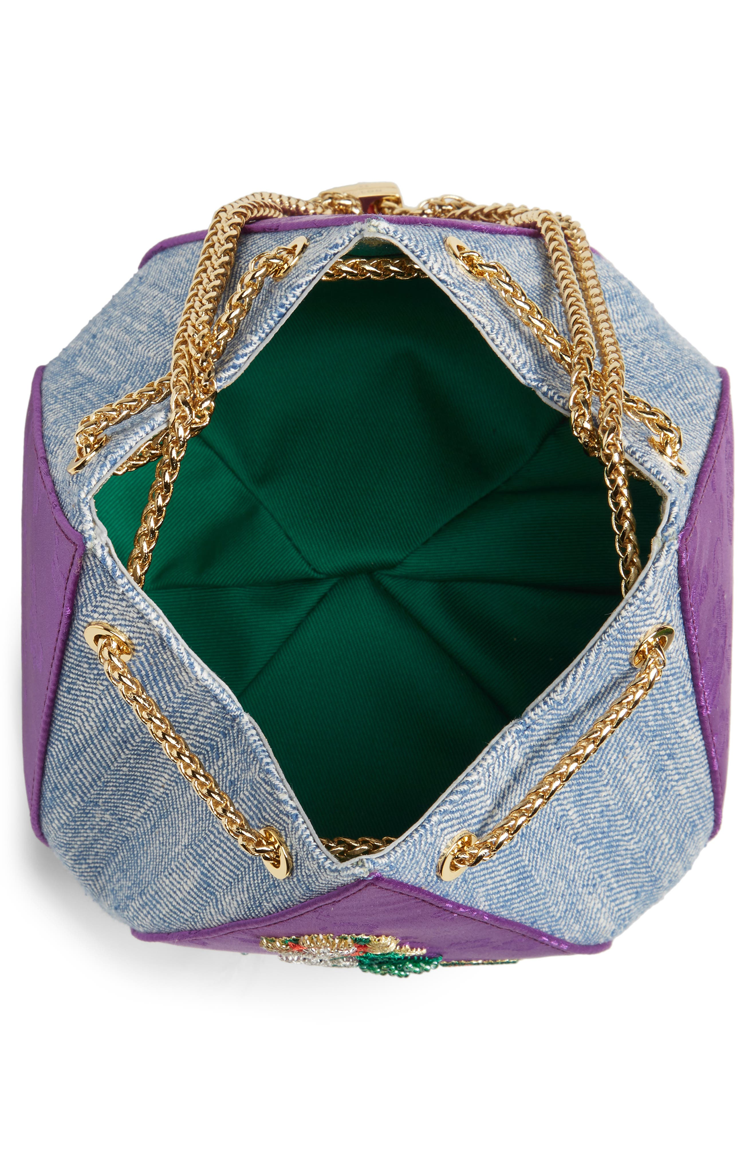 THE VOLON, Cindy Flower Embroidered Brocade & Denim Clutch, Alternate thumbnail 5, color, CHECK PURPLE
