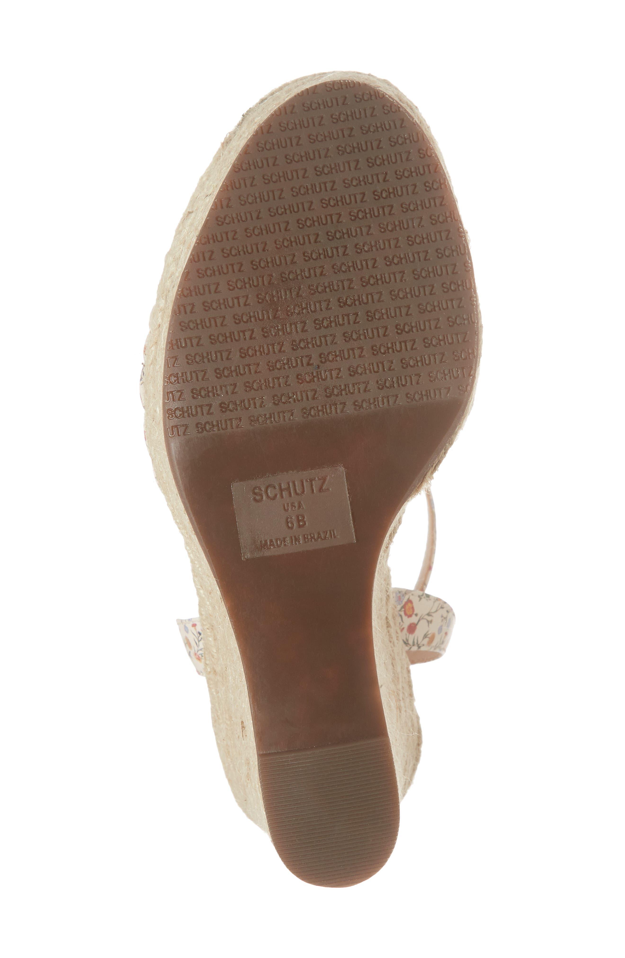 SCHUTZ, Gianne Platform Wedge Sandal, Alternate thumbnail 6, color, FLORAL LEATHER
