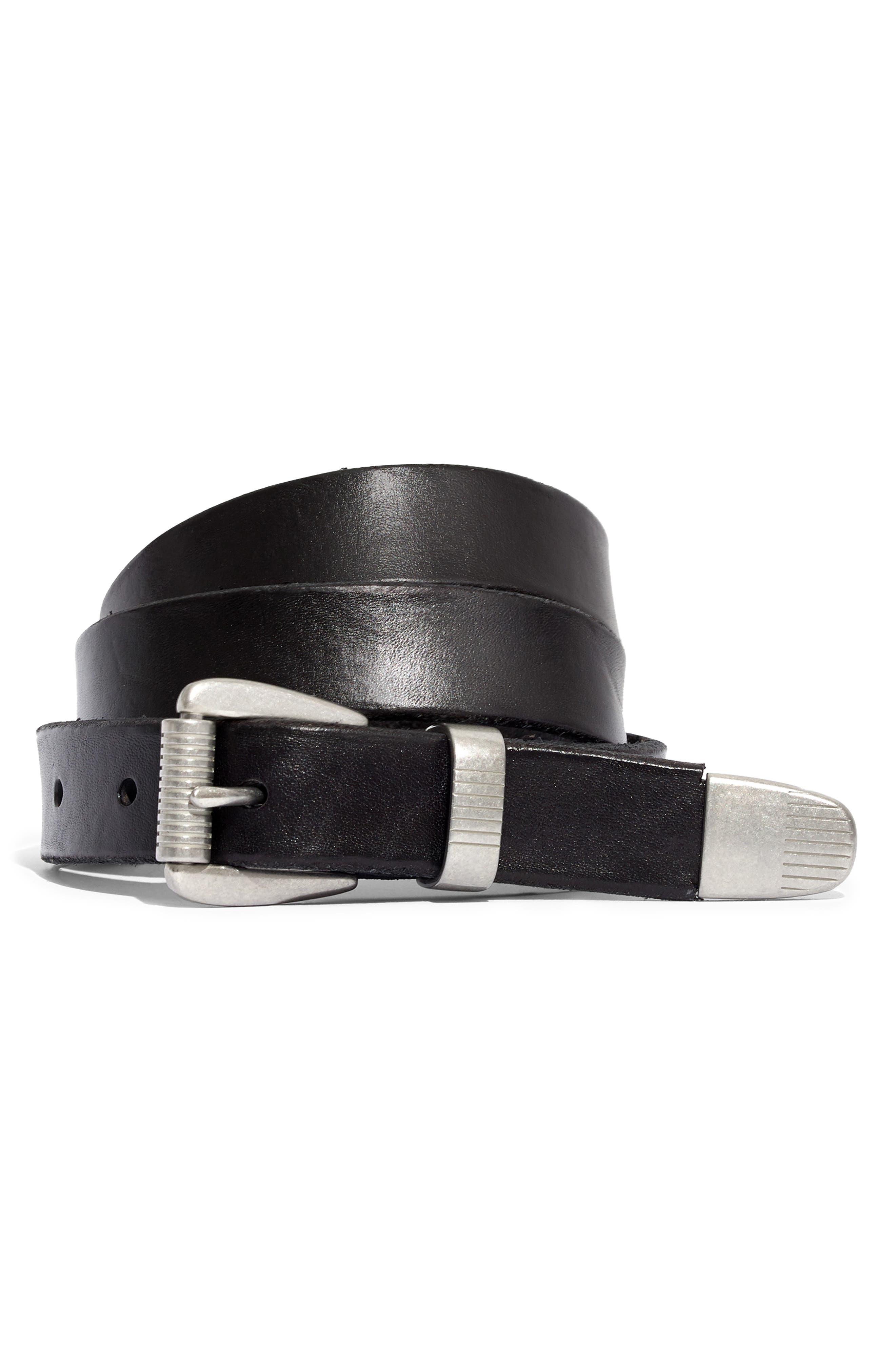 MADEWELL Leather Three-Piece Belt, Main, color, TRUE BLACK