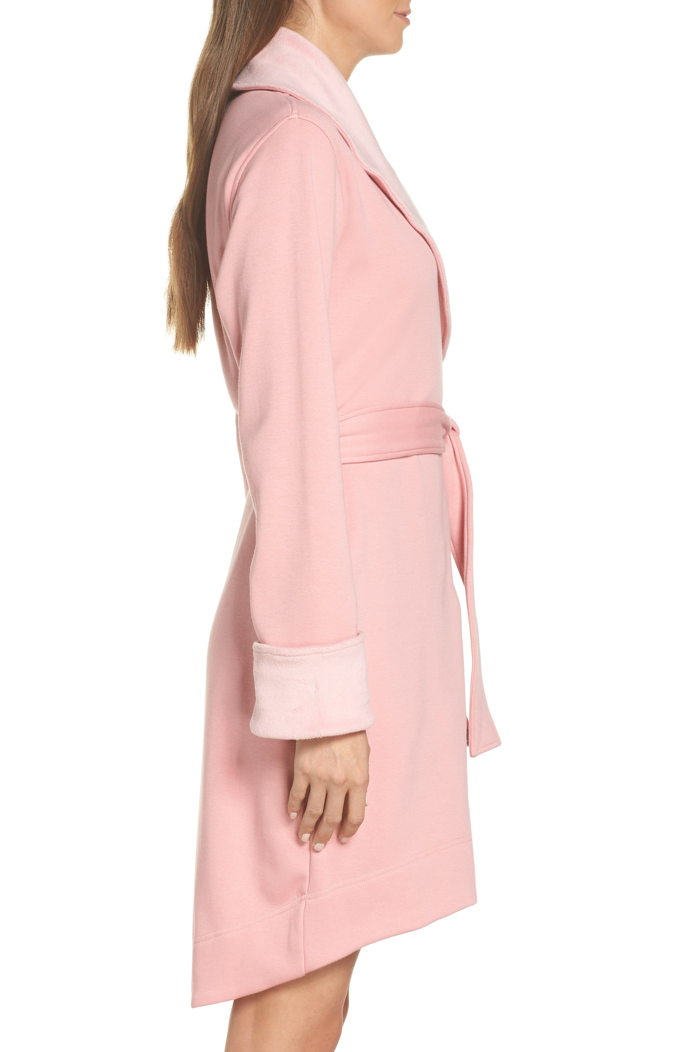 UGG<SUP>®</SUP>, Blanche II Short Robe, Alternate thumbnail 3, color, PINK DAWN