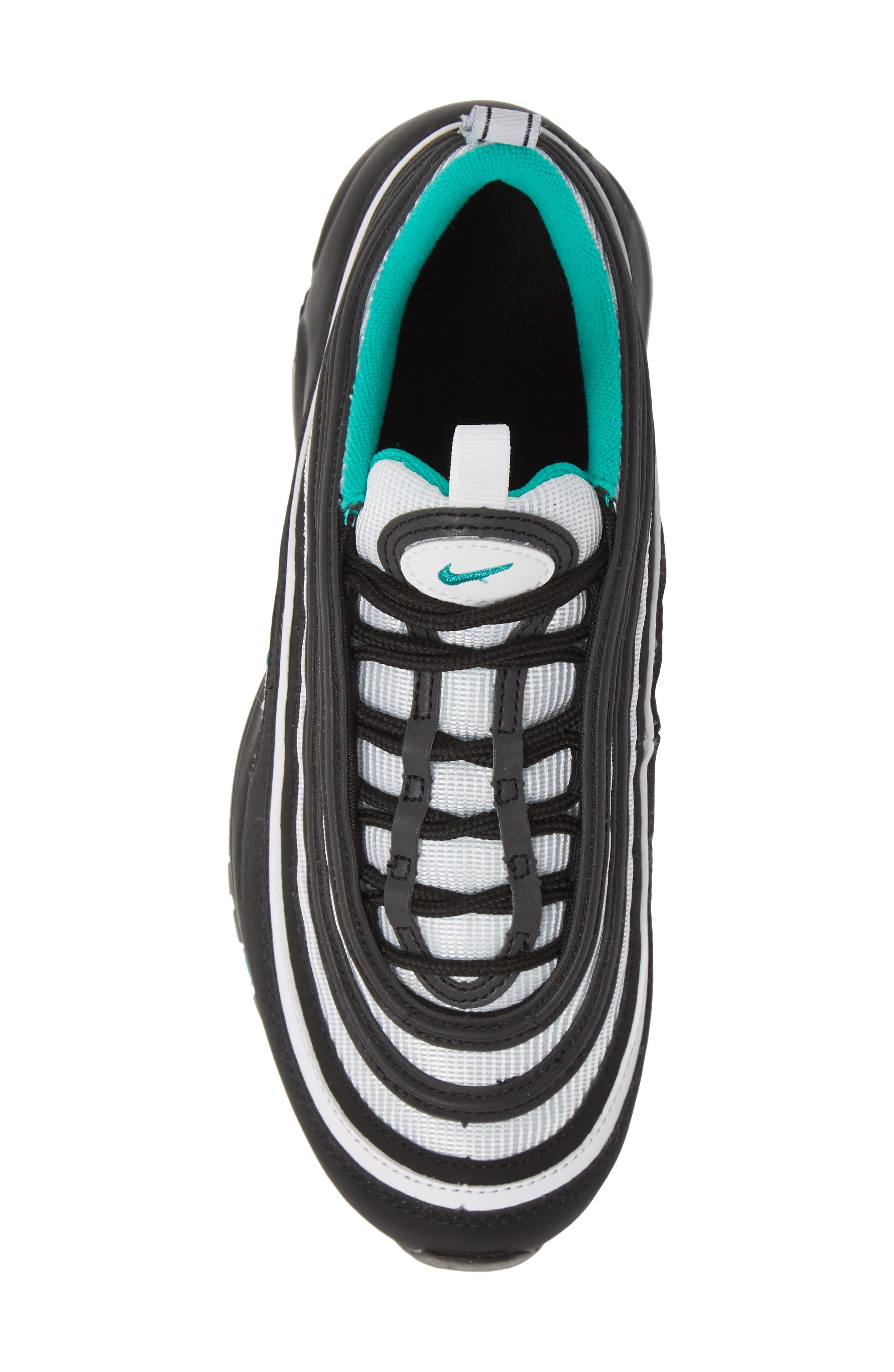 NIKE, Air Max 97 Sneaker, Alternate thumbnail 5, color, BLACK/ CLEAR EMERALD-WHITE