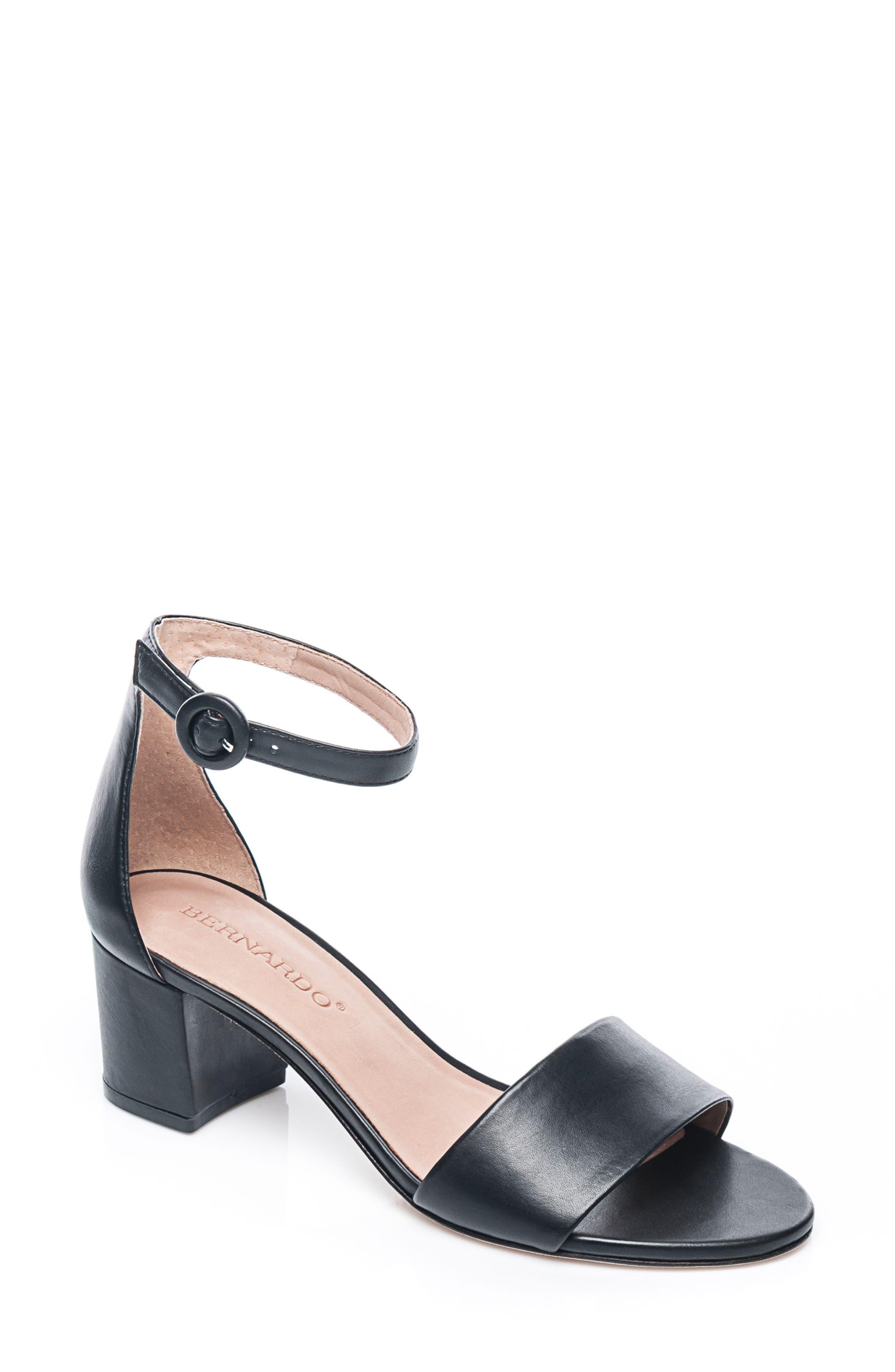 BERNARDO, Belinda Ankle Strap Sandal, Main thumbnail 1, color, BLACK LEATHER