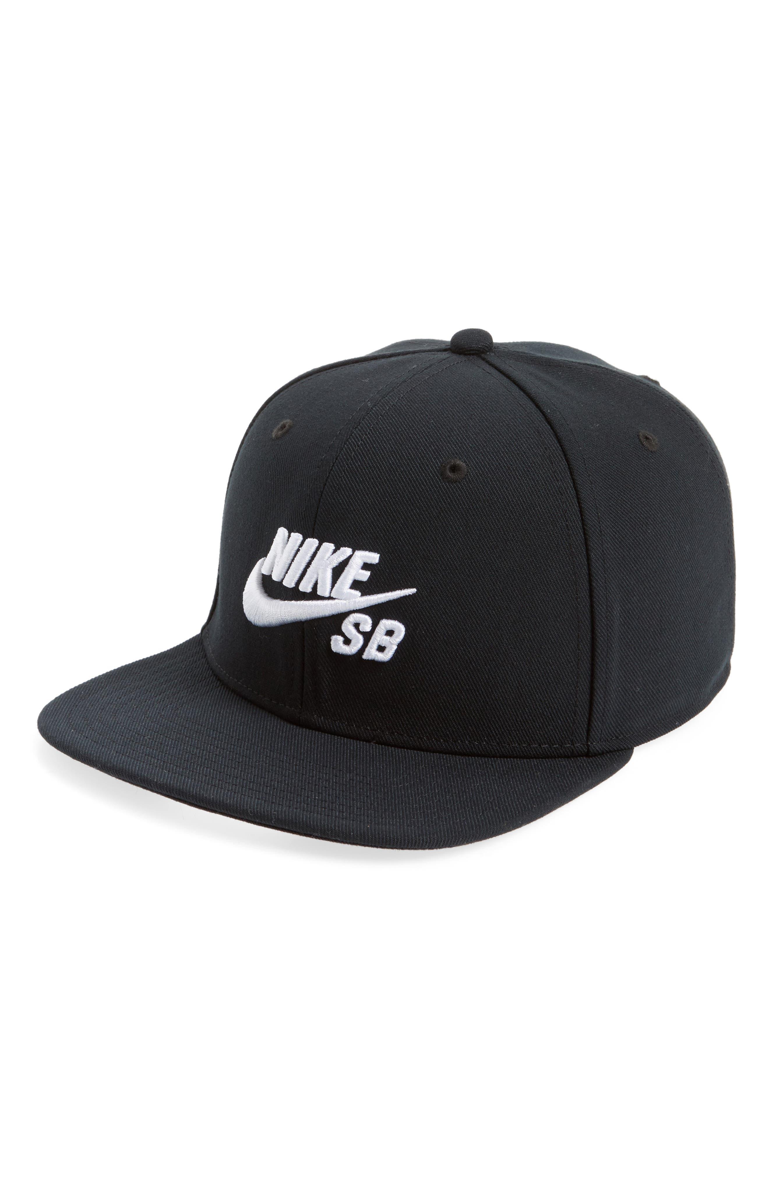 NIKE SB, Nike Pro Snapback Baseball Cap, Main thumbnail 1, color, BLACK/ BLACK/ BLACK/ WHITE