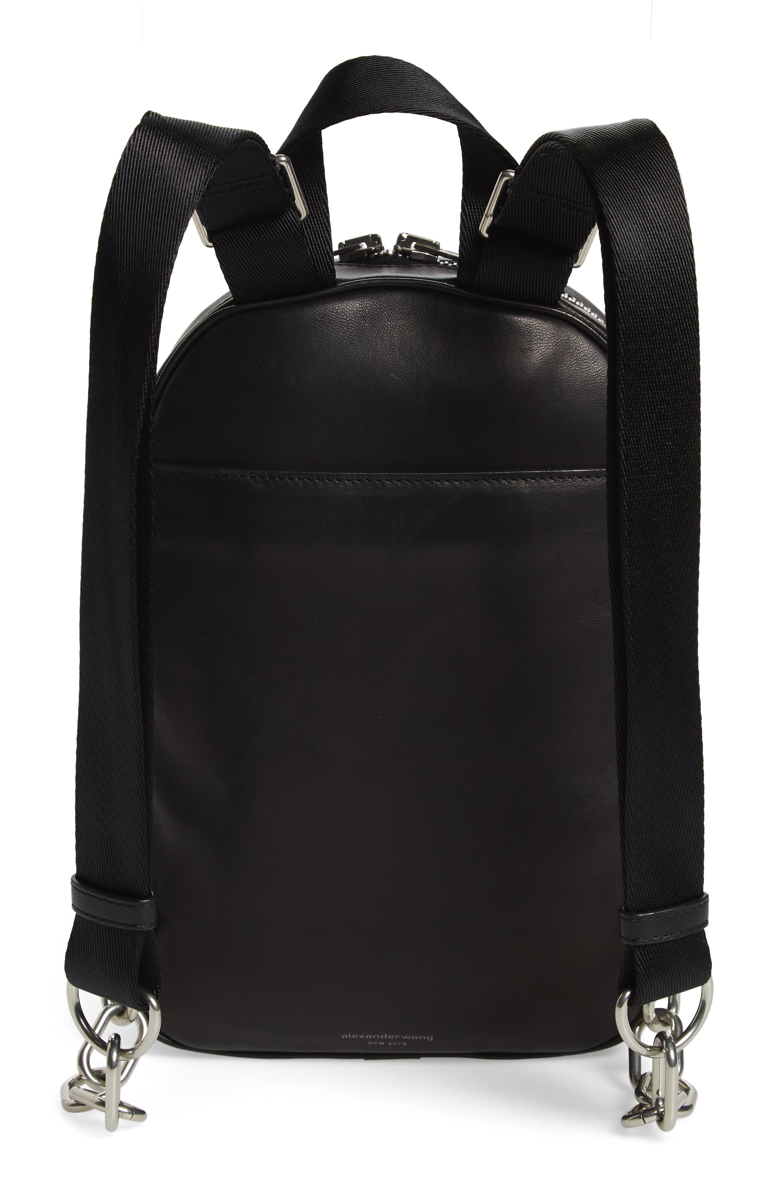 ALEXANDER WANG, Attica Lambskin Leather Backpack, Alternate thumbnail 3, color, BLACK