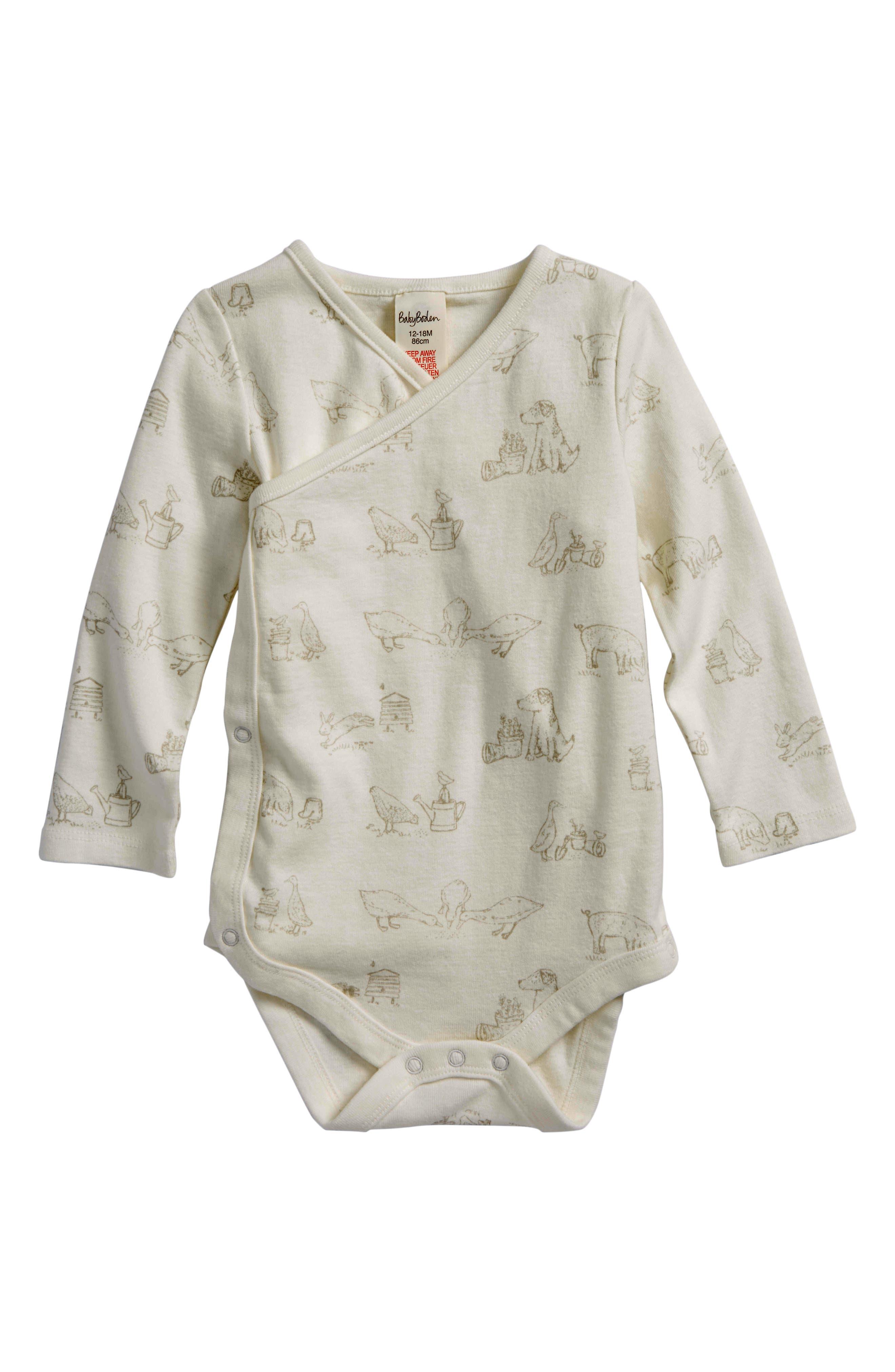 MINI BODEN Farmyard Organic Cotton Wrap Bodysuit, Main, color, SHALE GREY